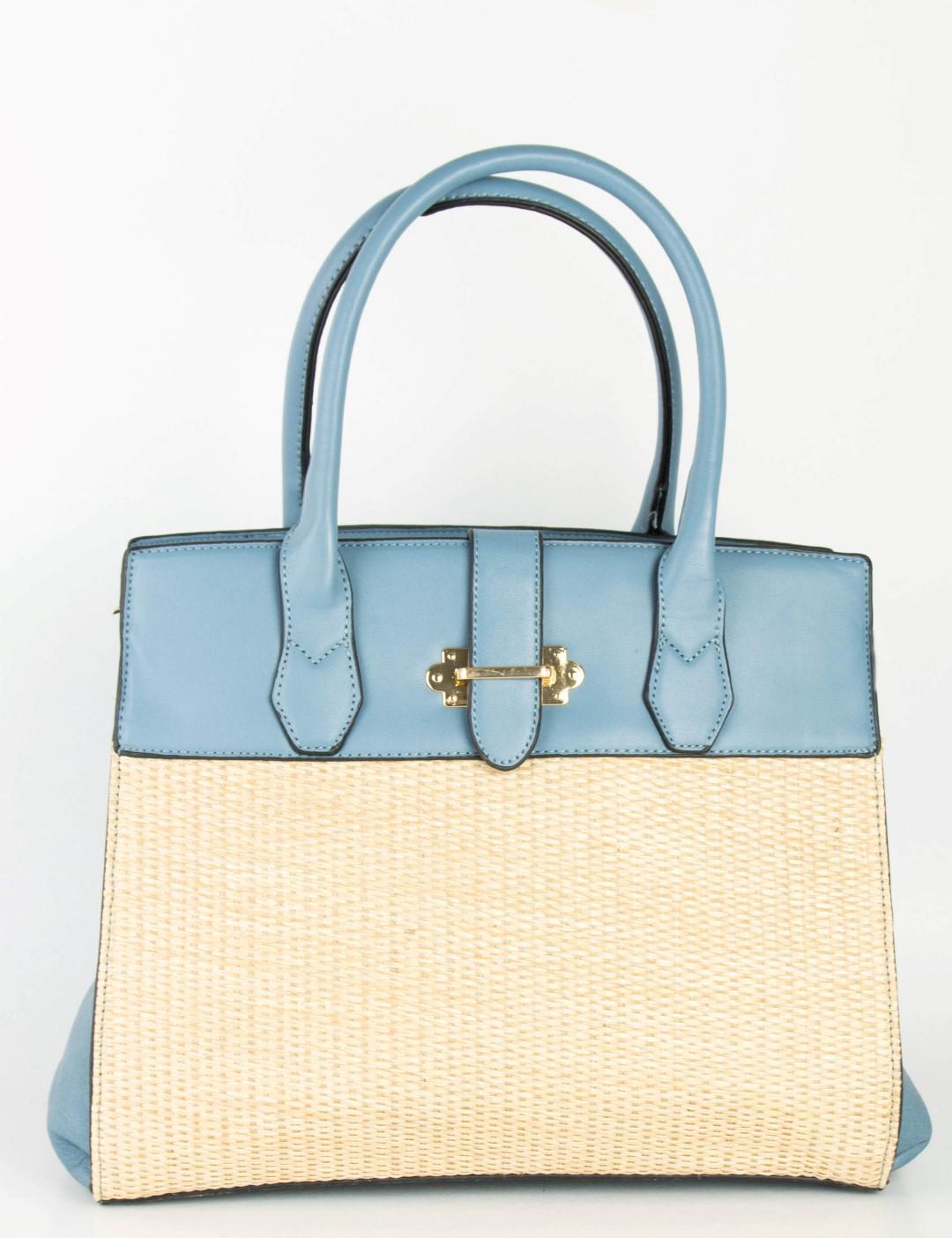 c9e4ae29aa Γυναικεία γαλάζια τσάντα ώμου ψάθινες λεπτομέριες 98573G. Λεπτομέρειες Αγορά