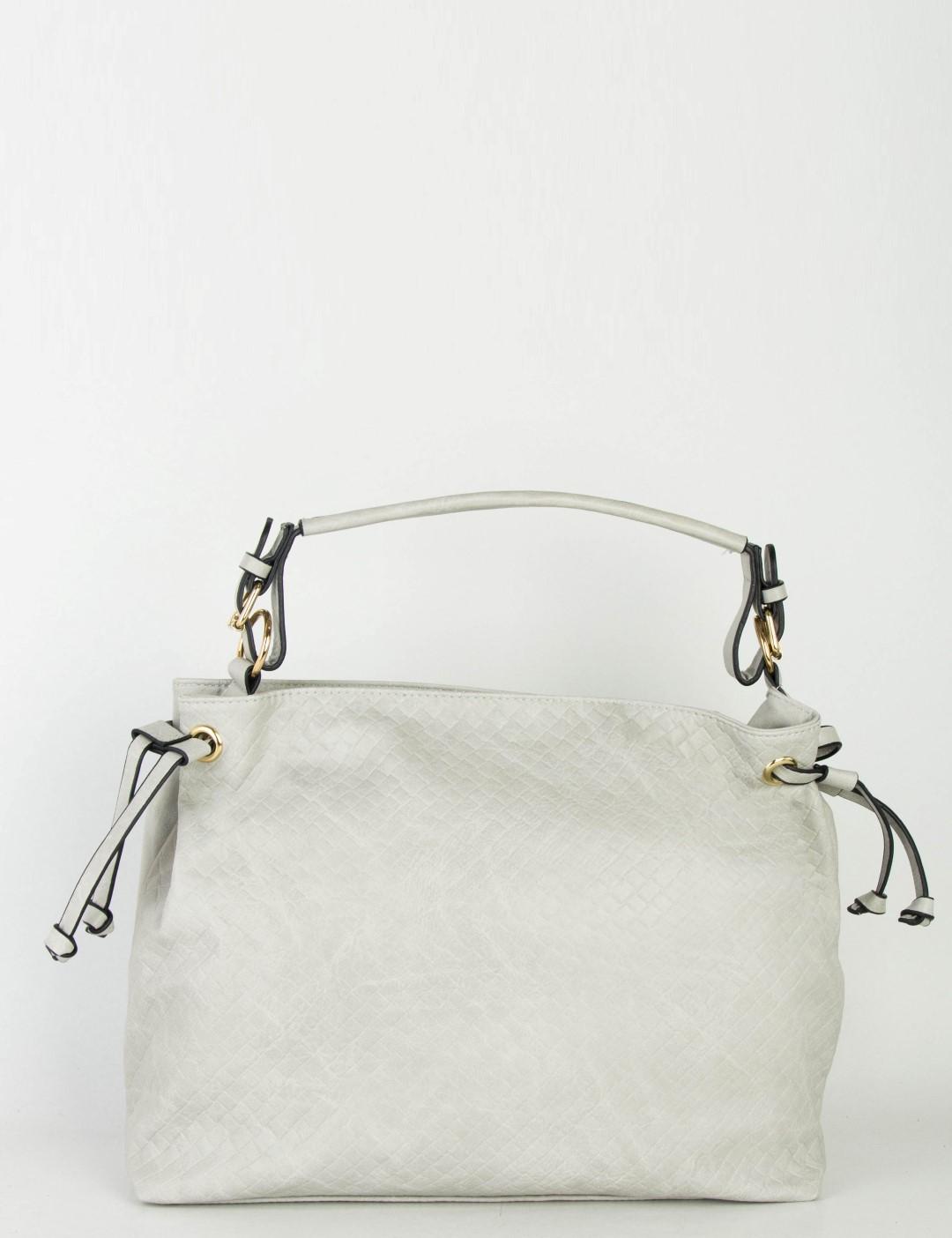 6c92c1b7cc Γυναικεία γκρι τσάντα ώμου μονόχρωμη ανάγλυφη 994024