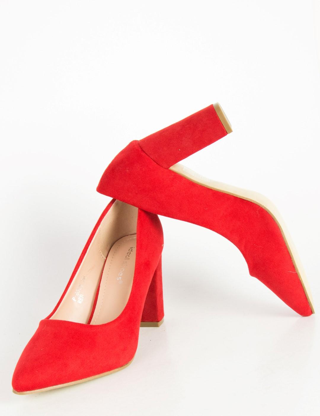 f58071ea680 Γυναικείες κόκκινες σουέντ γόβες χαμηλό χοντρό τακούνι P6386G