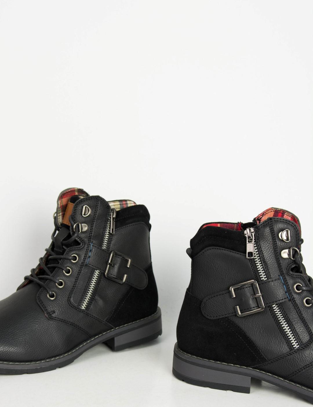de66fba1f37 Ανδρικά μαύρα αρβυλάκια Biker με κορδόνια EL0611