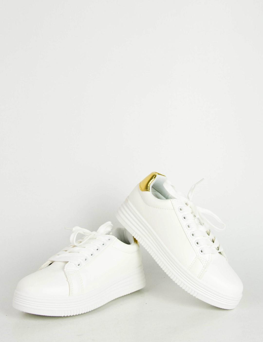 Γυναικεία λευκά χρυσό μονόχρωμα Sneakers κορδόνια LBS6516F f1b77a4f29c
