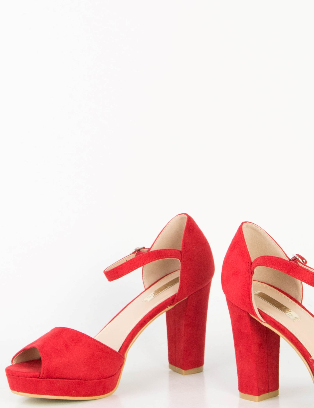 a55d7e15e3b Γυναικεία κόκκινα σουέντ πέδιλα χοντρό τακούνι 8116Y