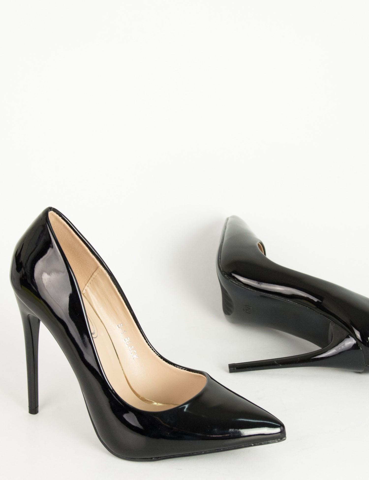 fef8f6056ae Γυναικείες μαύρες λουστρίνι ψηλοτάκουνες γόβες B18