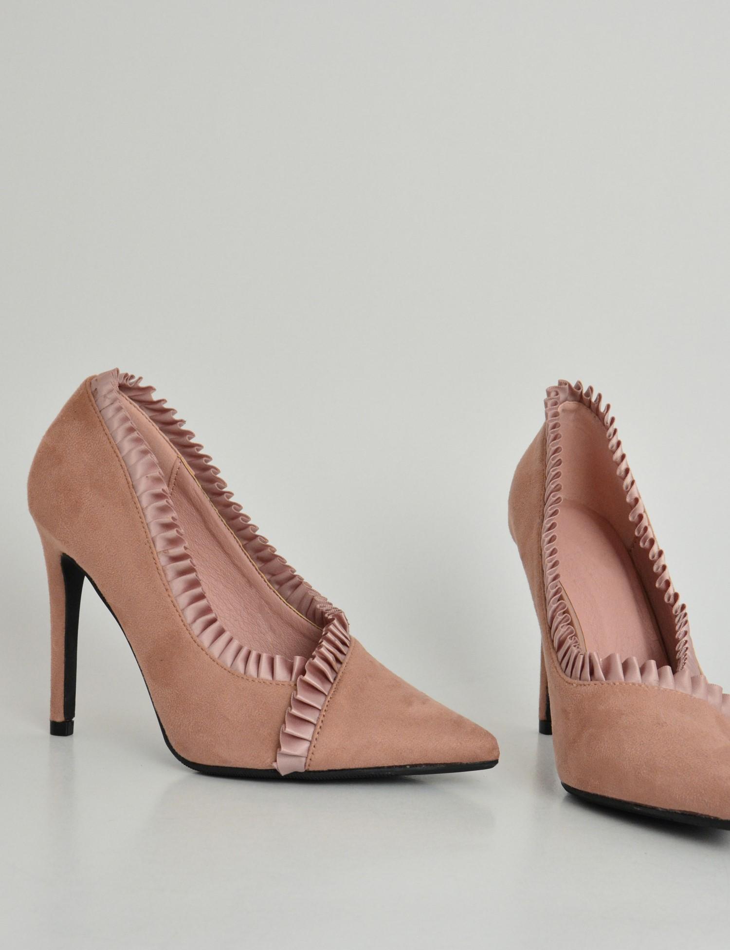 Γυναικείες μυτερές σουέτ γόβες με πιέτες ροζ TK3106U 024e1824939