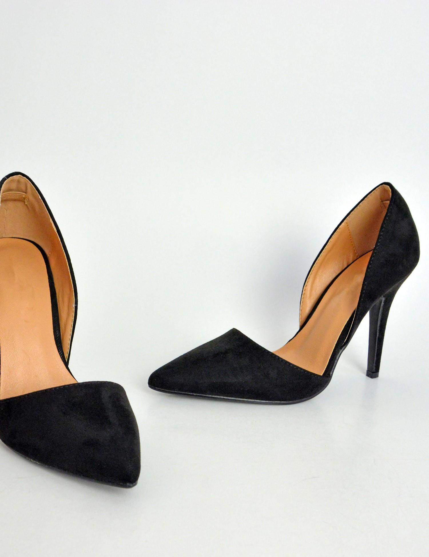 55a89fa0ca Γυναικείες σουέντ μυτερές γόβες μαύρες με άνοιγμα LBS2030C