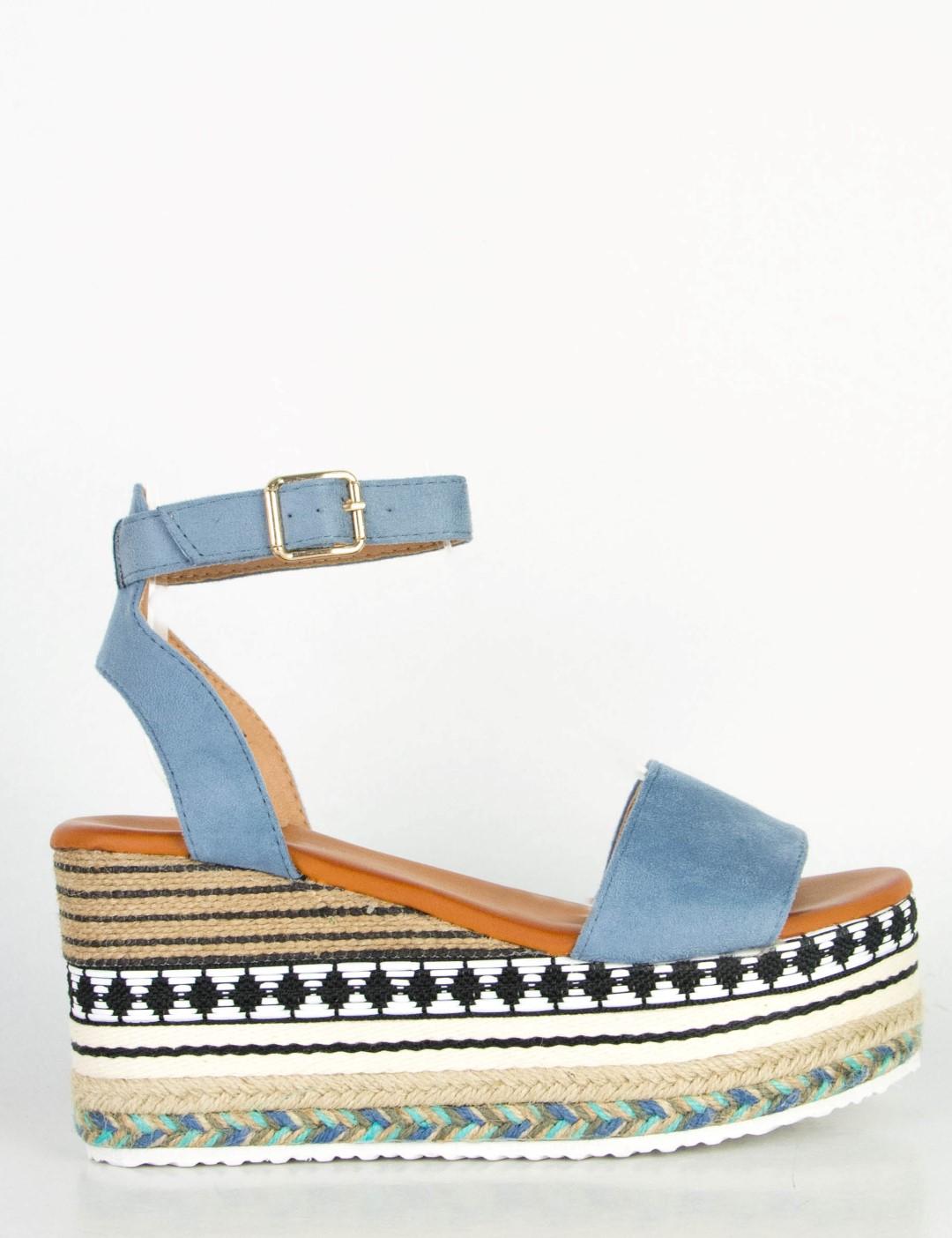 713e59c514b Γυναικεία γαλάζια σουέντ Flatforms σανδάλια με λουράκι Q52Z