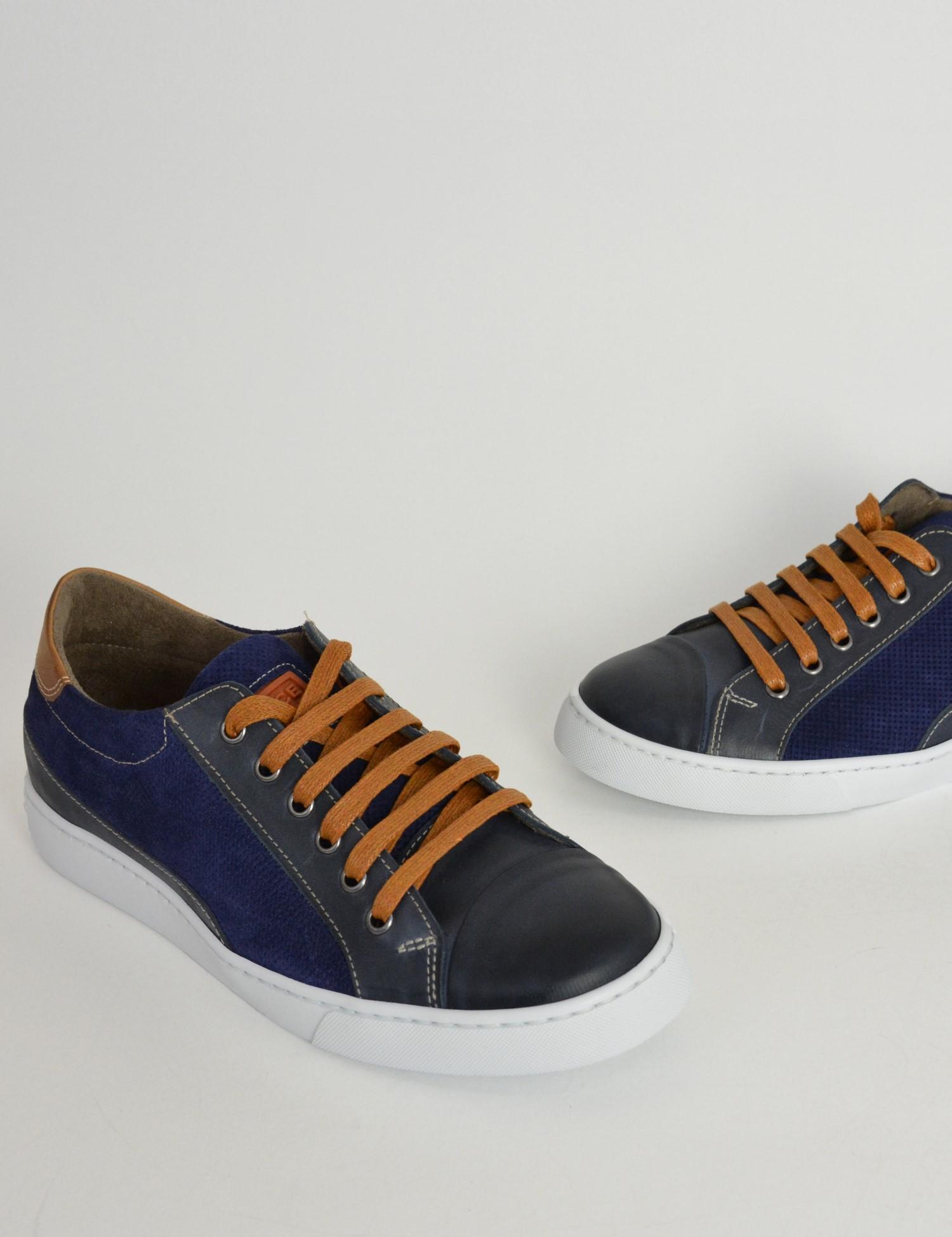 Ανδρικά δερμάτινα Sneakers Nice Step μπλε με κορδόνια 775 b677b7e6e75