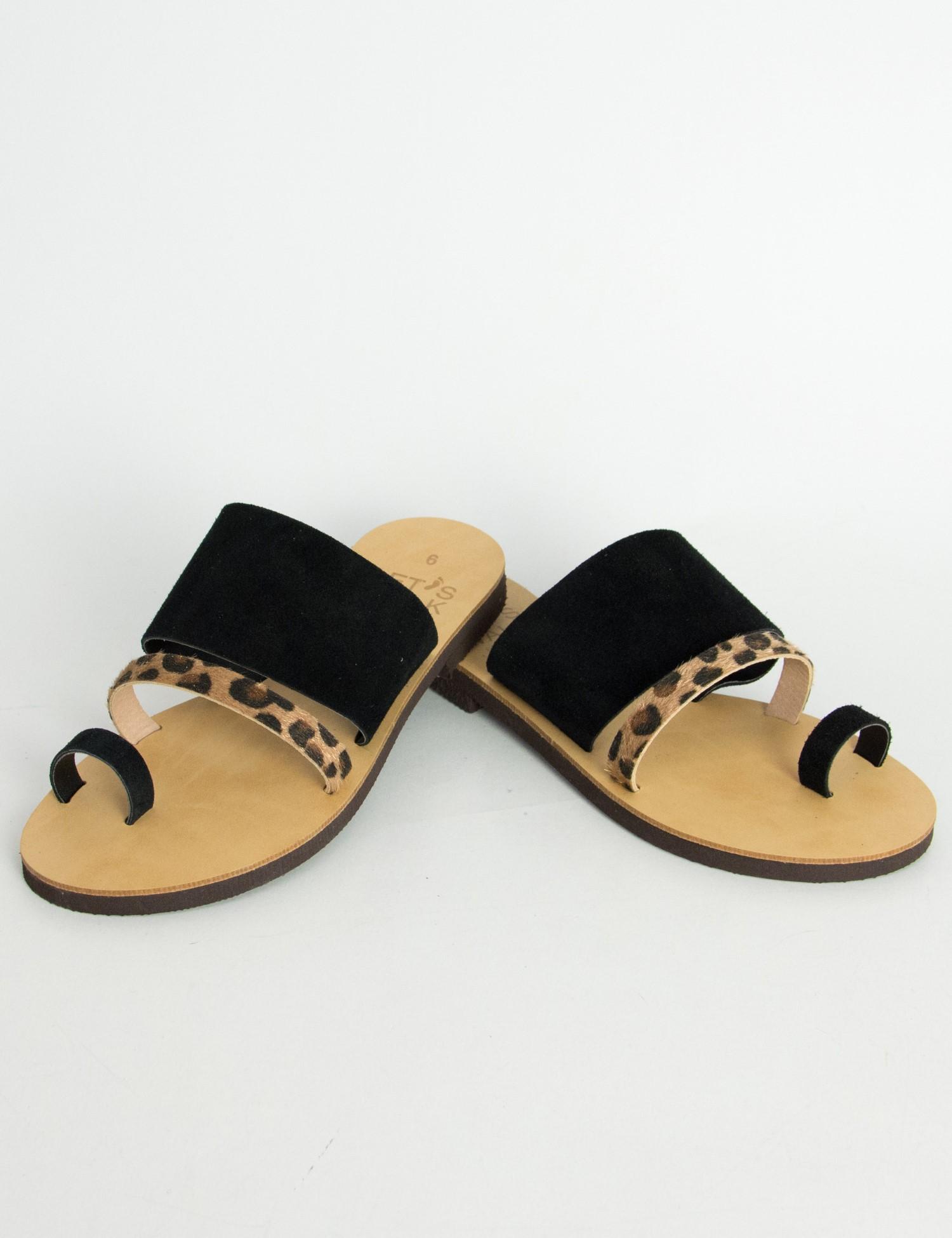 Γυναικεία μαύρα Flat σανδάλια με λουράκια λεοπάρ 183850G 23335b826bd