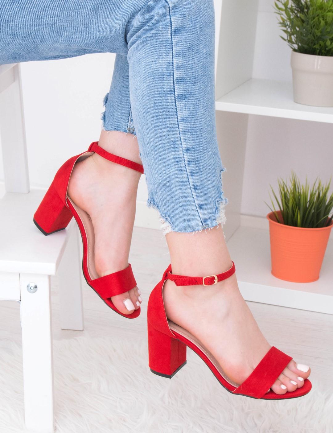 7afced61b21 Γυναικεία κόκκινα σουέντ πέδιλα PeepToe ανοίγματα 17636R | Fashion ...