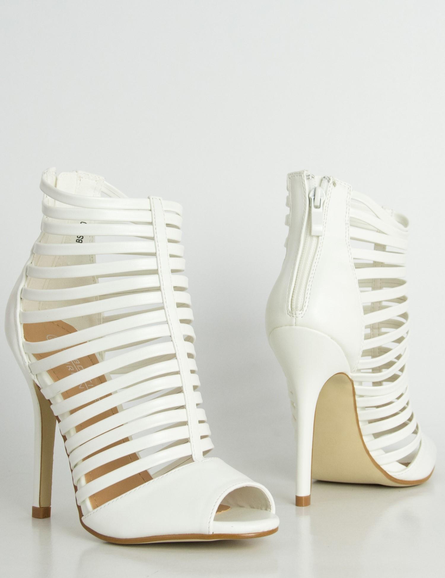 Γυναικεία λευκά πέδιλα Peep Toe δερματίνη λουριά LBS2670R c570ef5eaff