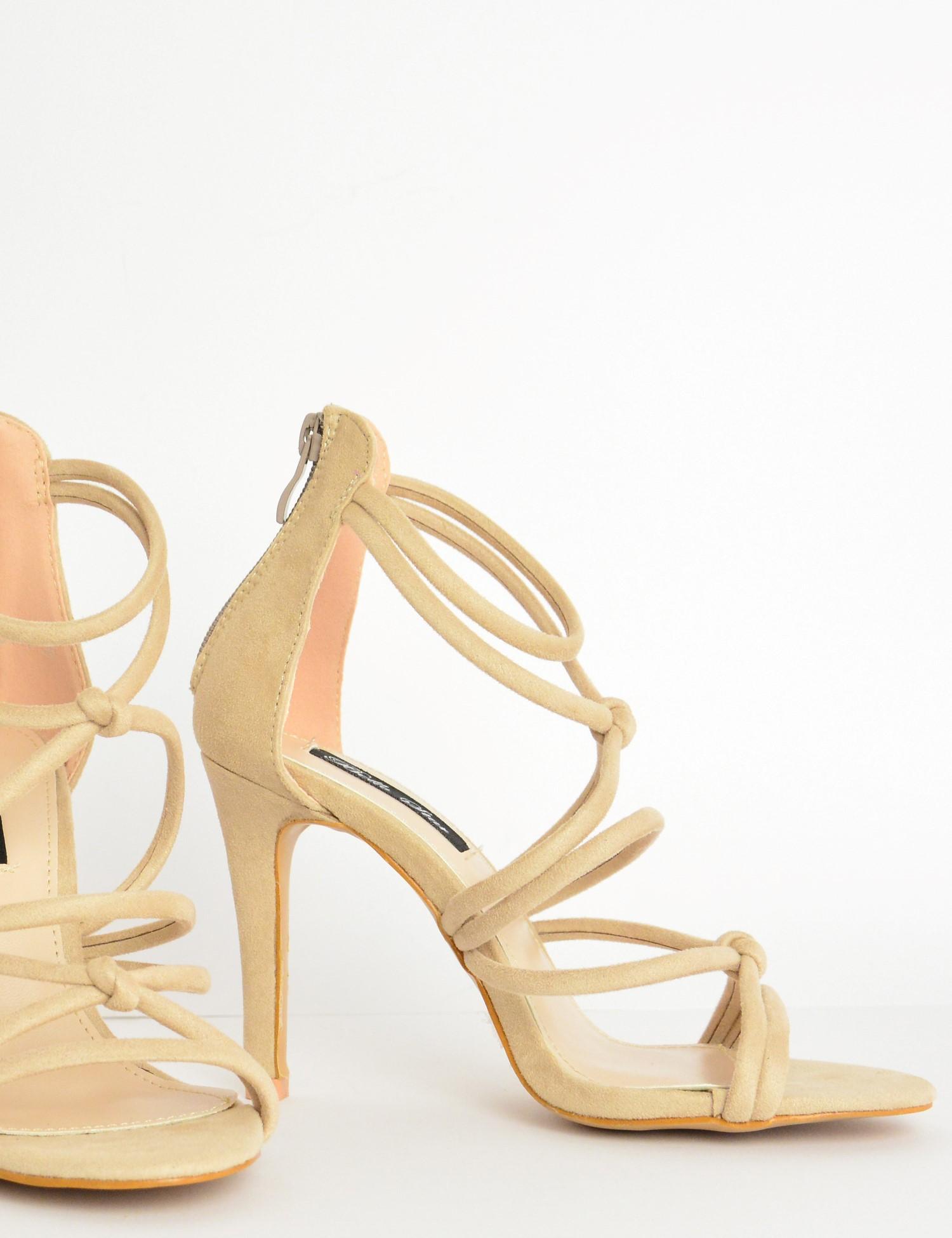 01c26a6860b Γυναικεία πέδιλα καστόρ με laces ψηλοτάκουνα μπεζ L6117G