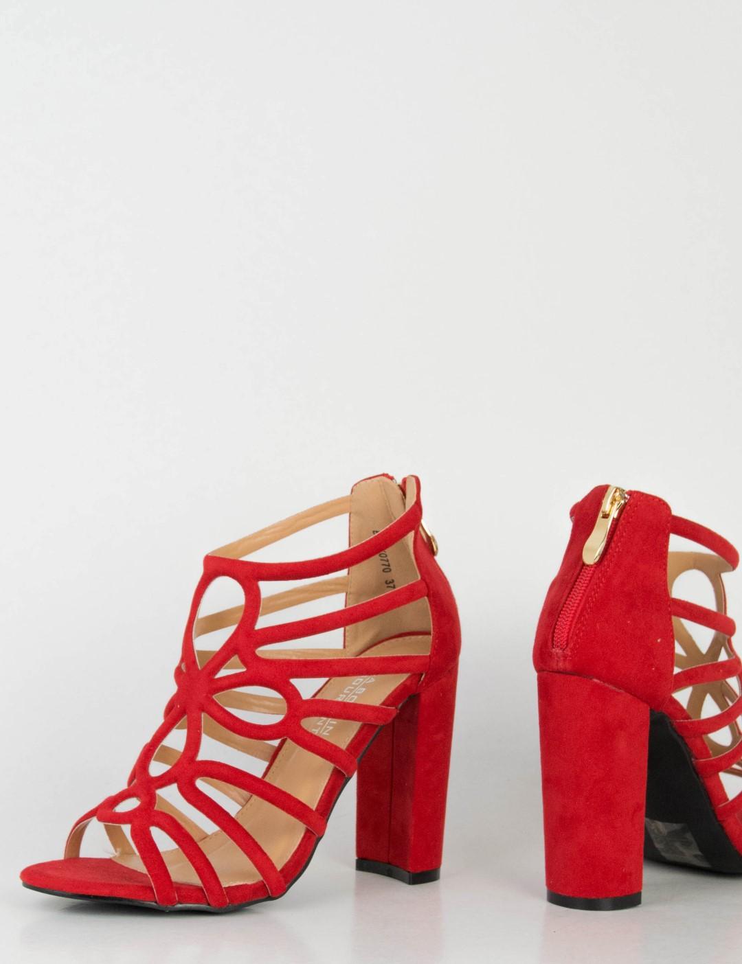 37cfc10009e Γυναικεία κόκκινα σουέντ πέδιλα χοντρό τακούνι 0770