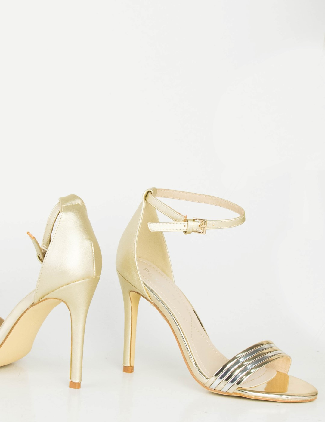 200cc896305 Γυναικεία χρυσά πέδιλα λεπτό τακούνι μπαρέτα PH089L