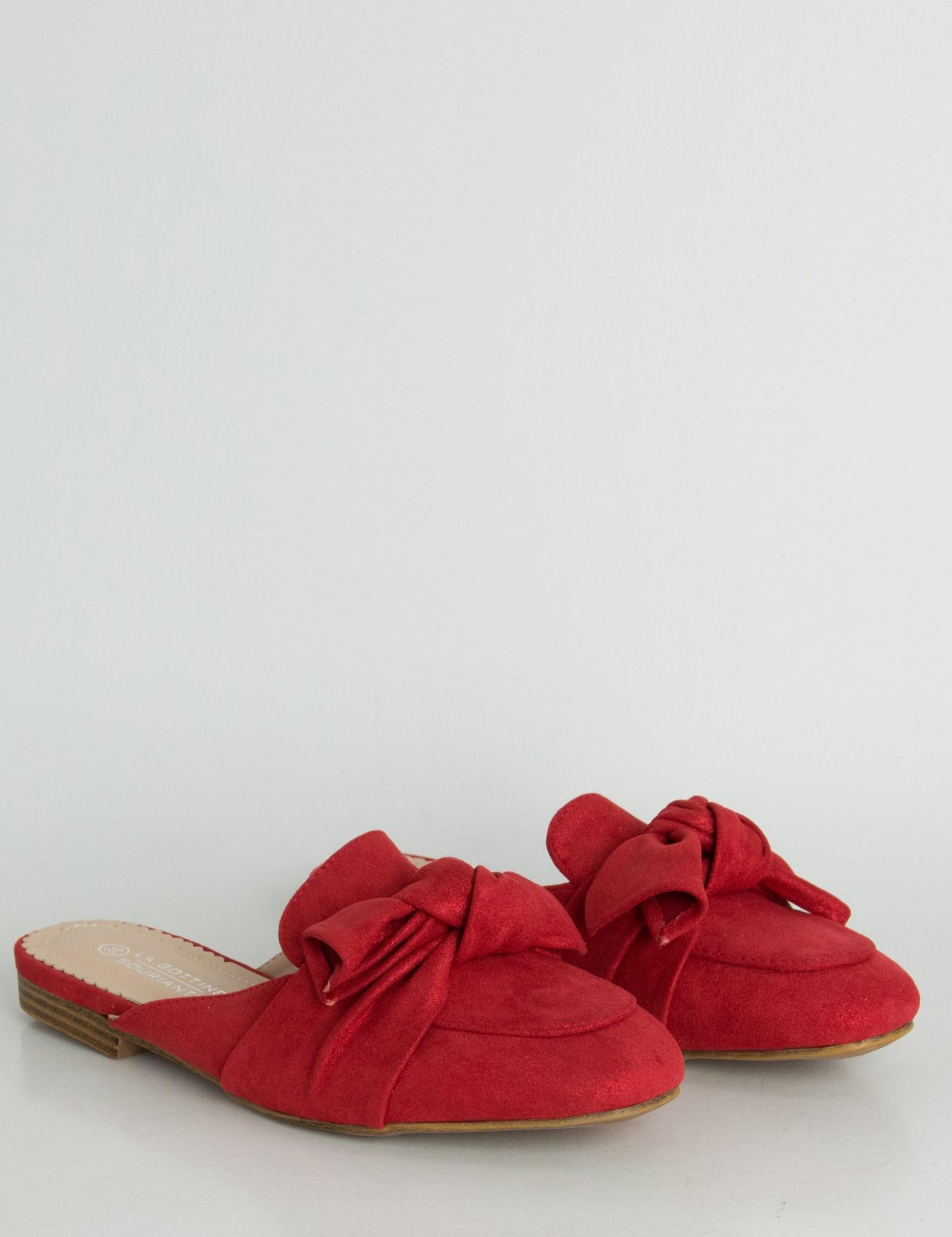 Γυναικεία κόκκινα Flat Mules σουέντ ιριδίζον φιόγκος LBS6599 cc0490372c7