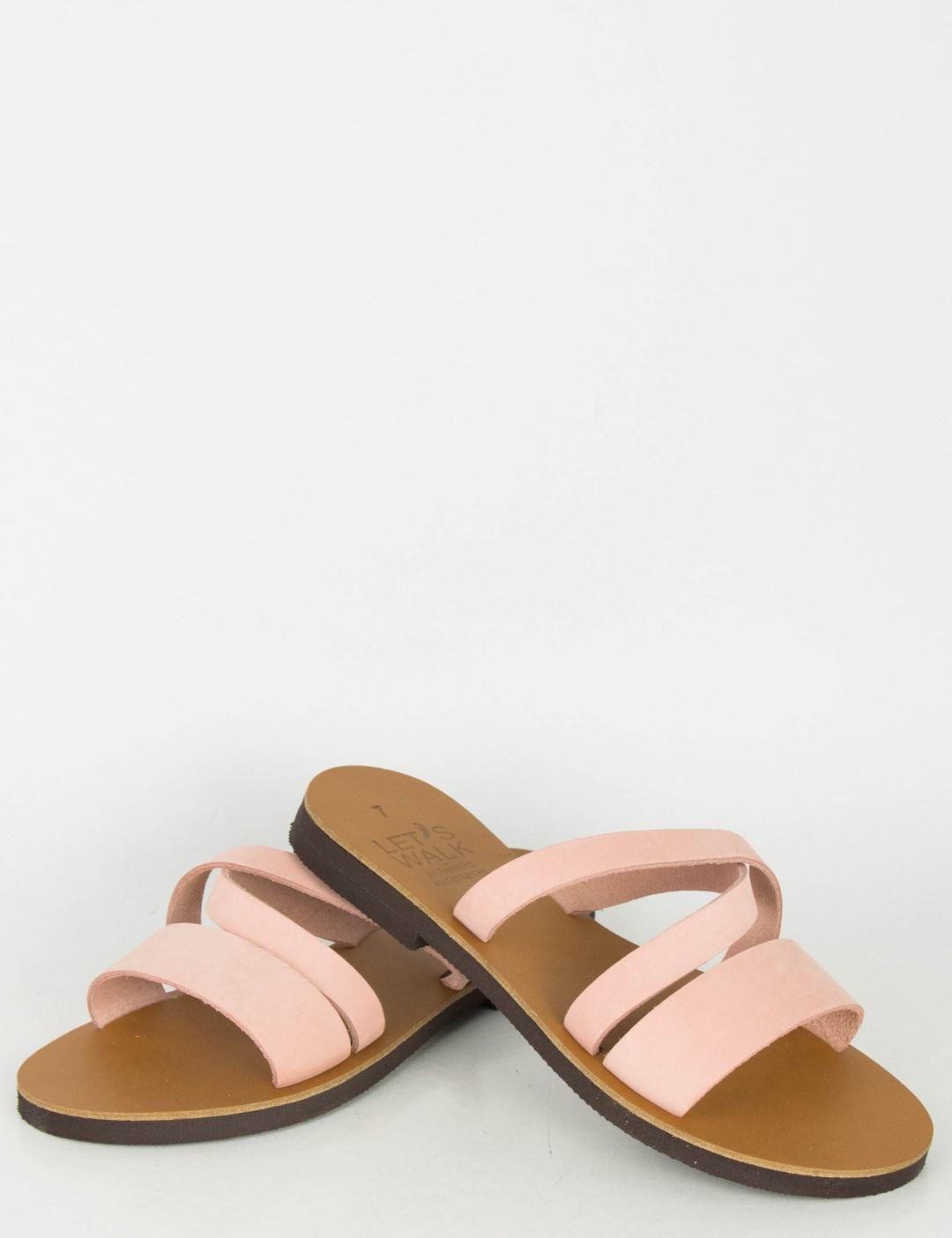 9312e9c0a1a Γυναικεία ροζ Flat πέδιλα λουράκια 041041R   Fashion Voucher