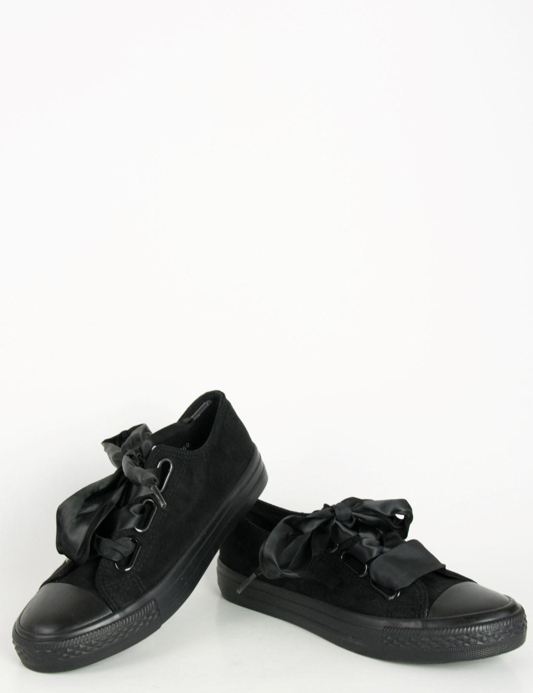 3ed74e2f38c Γυναικεία sneakers suede με σατέν κορδέλα μαύρα AD769