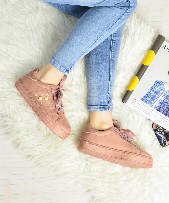 Γυναικεία Sneakers Suede με σατέν κορδόνια ροζ AD781R 388cc4b25ba