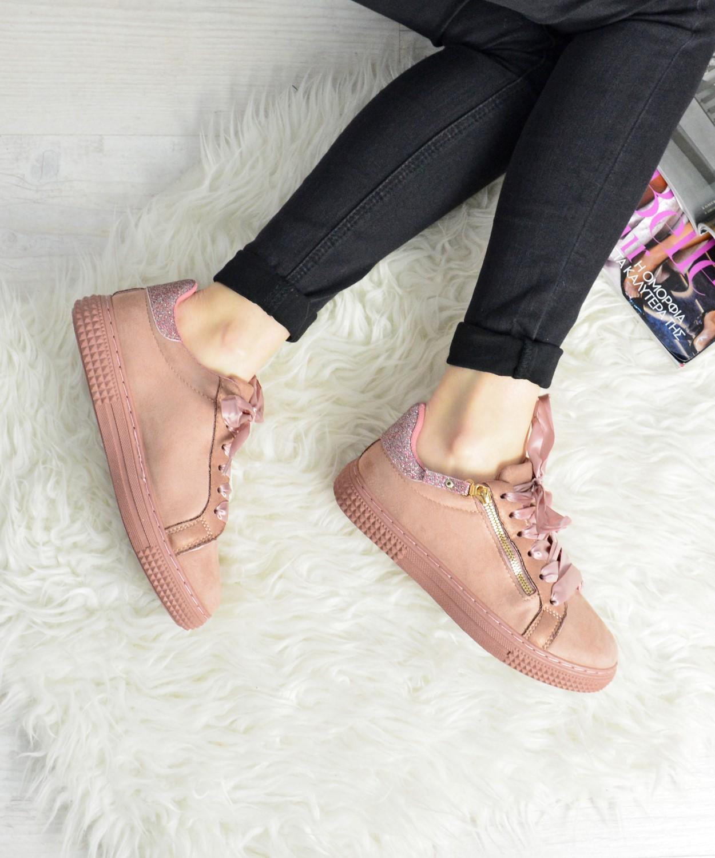 Γυναικεία Sneakers Suede με σατέν κορδόνια ροζ AB1R  2ac5de98a23