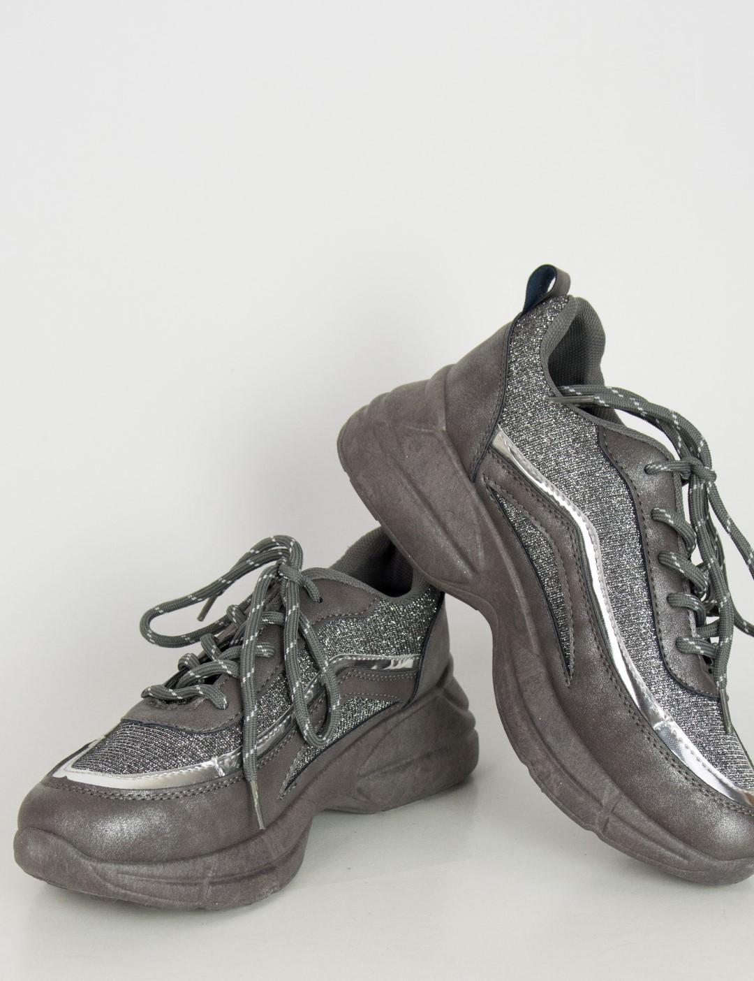 Γυναικεία γκρι αθλητικά Sneakers παπούτσια με glitter J2F 977b22d901f
