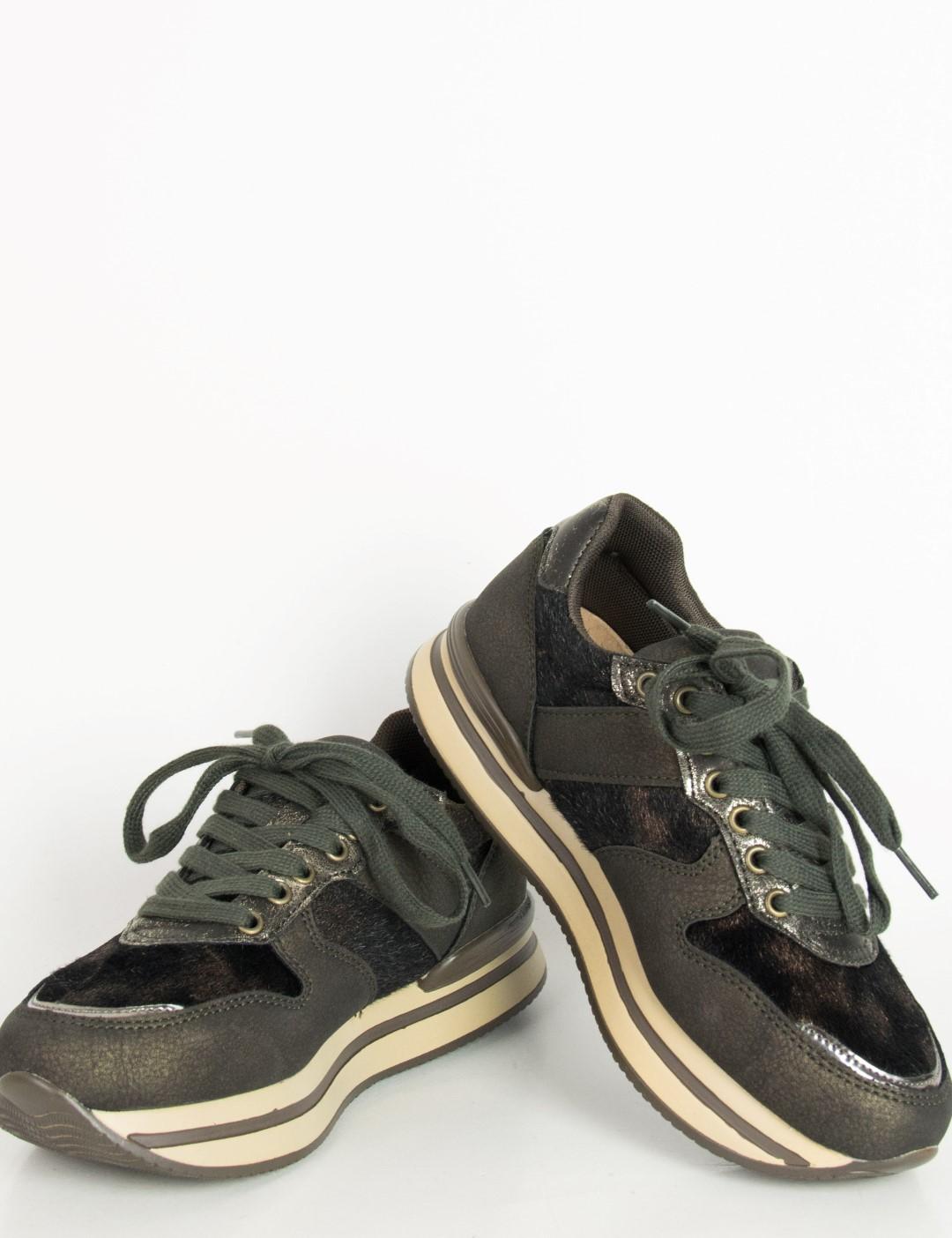 Γυναικεία χακί sneakers σουέντ glitter JN2202F c46320cb238