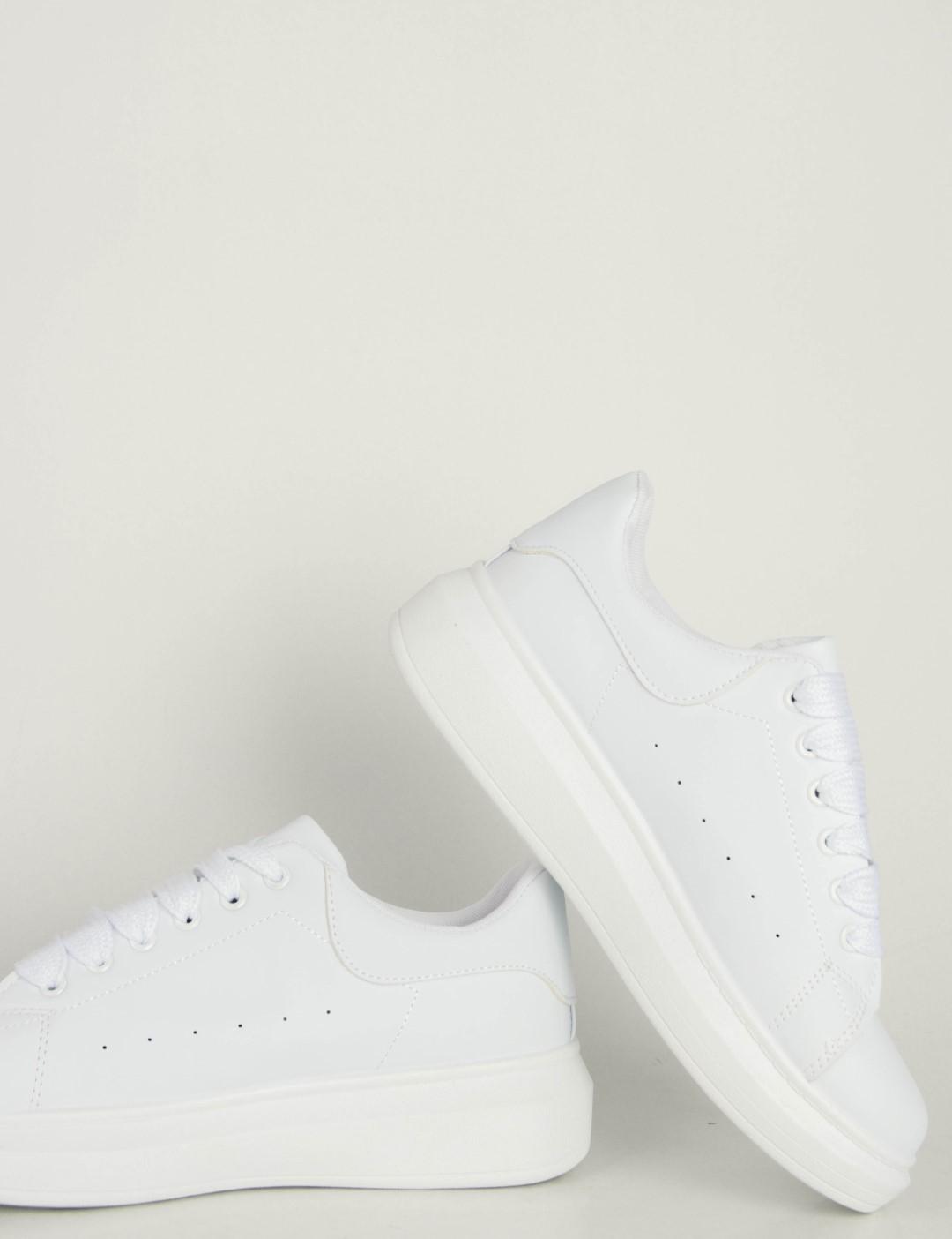 30ce78ab57f Ανδρικά λευκά δίσολα Sneakers λαστιχένια σόλα M723