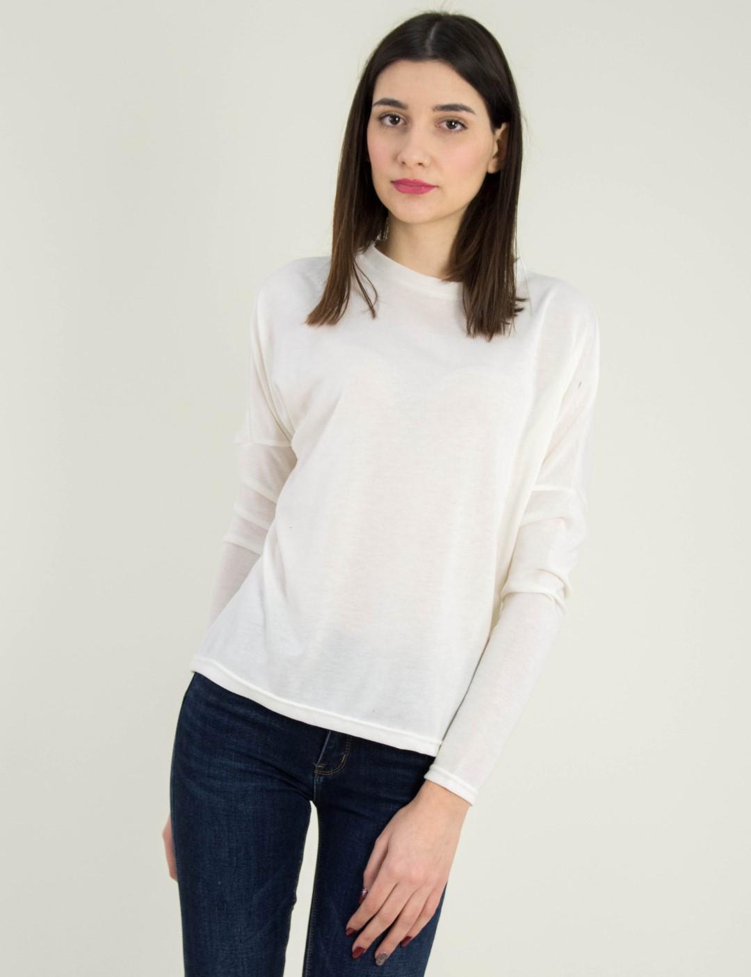 6d8309b8f5fe Γυναικεία λευκή μακρυμάνικη μπλούζα μονόχρωμη 568971L
