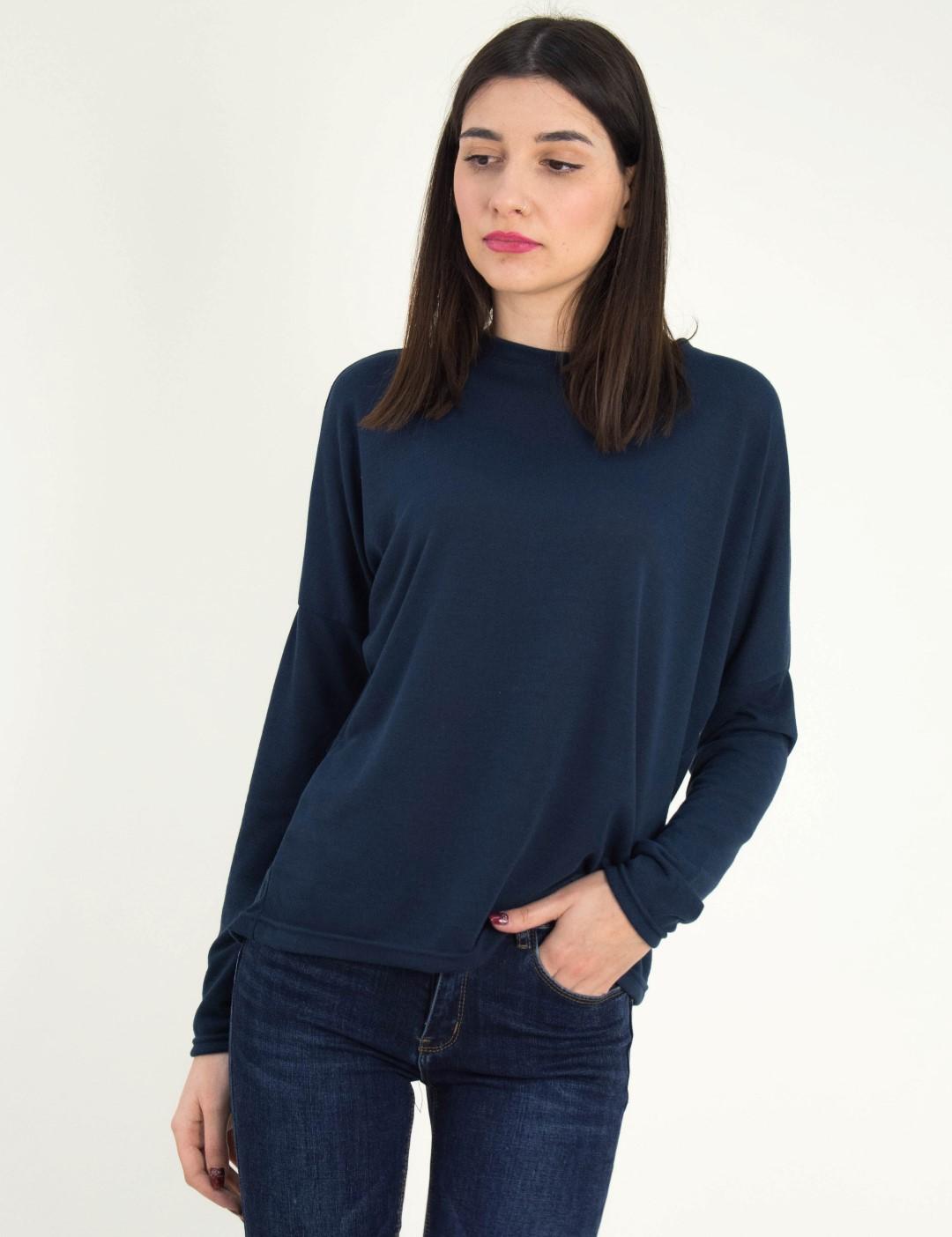 a22052d79854 Γυναικεία μπλε μακρυμάνικη μπλούζα μονόχρωμη 568971