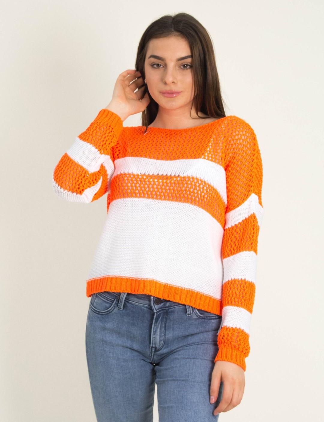4ac067746888 Γυναικείο πορτοκαλί πλεκτό Crop Top ριγέ YC66R