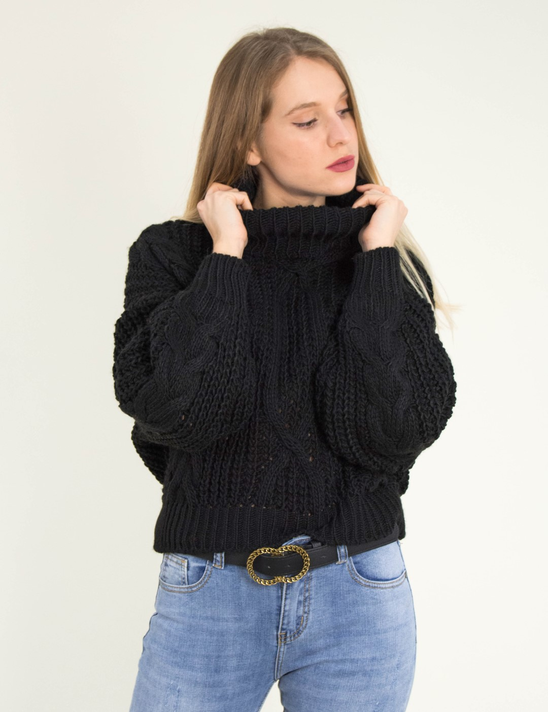 Γυναικείο μαύρο πλεκτό πουλόβερ χοντρό ζιβάγκο 3214E c2bfb67b96c