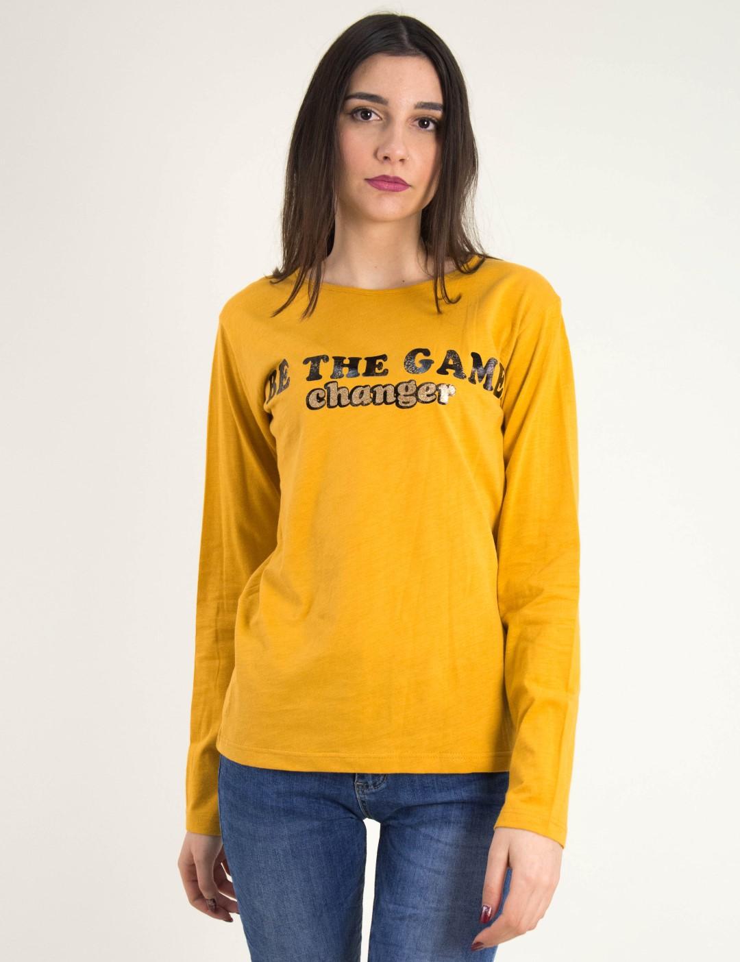 ea20033a8dd7 Γυναικεία ώχρα μακρυμάνικη μπλούζα τύπωμα 1175954L