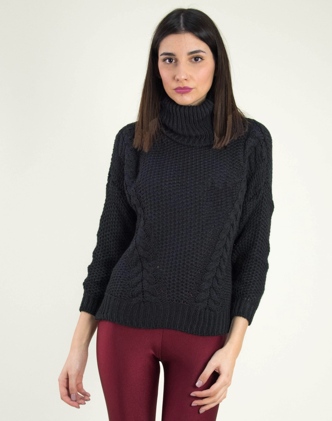 1b49ed9e60df Γυναικείο μαύρο πλεκτό πουλόβερ με ζιβάγκο 8682C