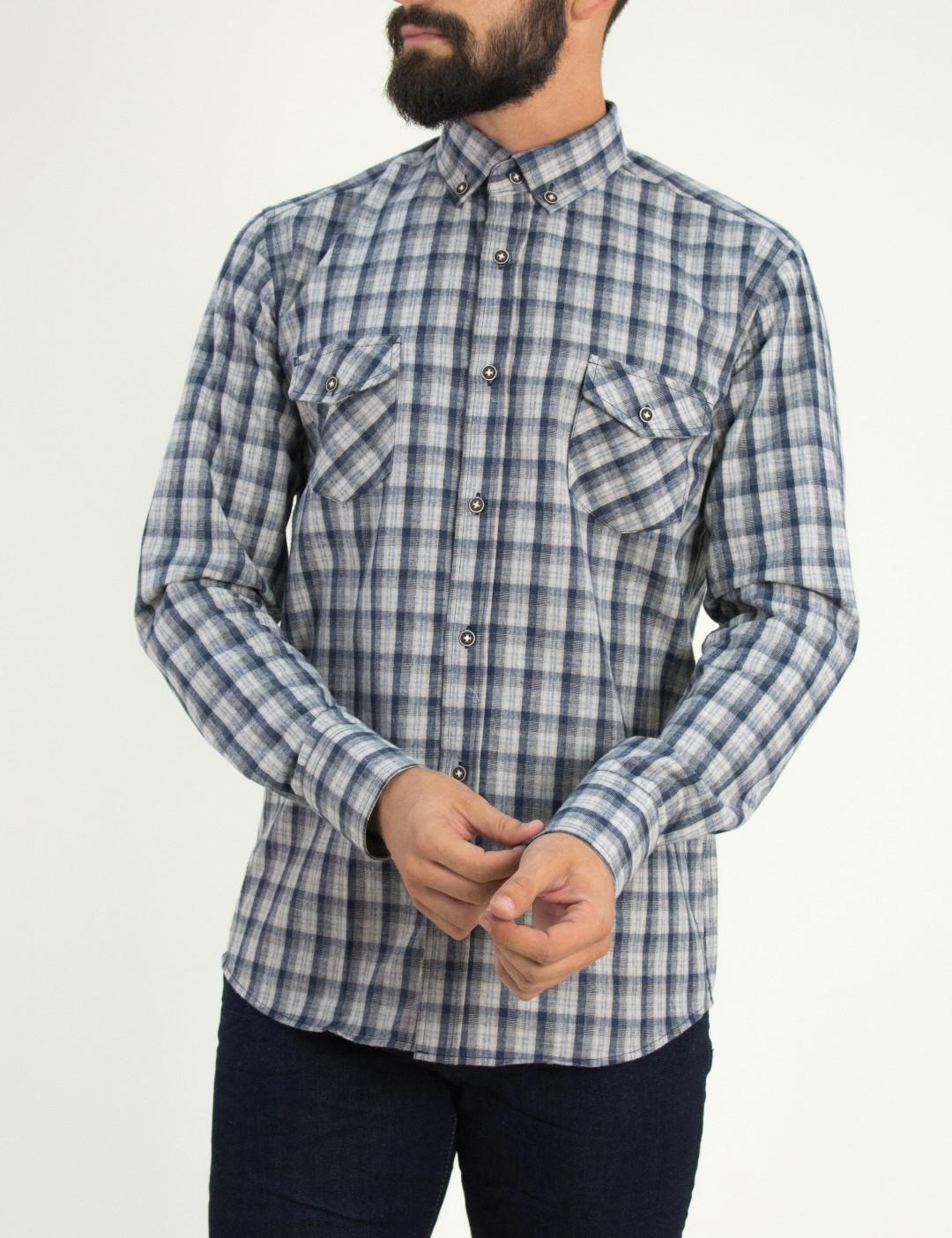 Ανδρικό μπλε καρό πουκάμισο με τσεπάκια Ben Tailor 0091F c1a25acbf26