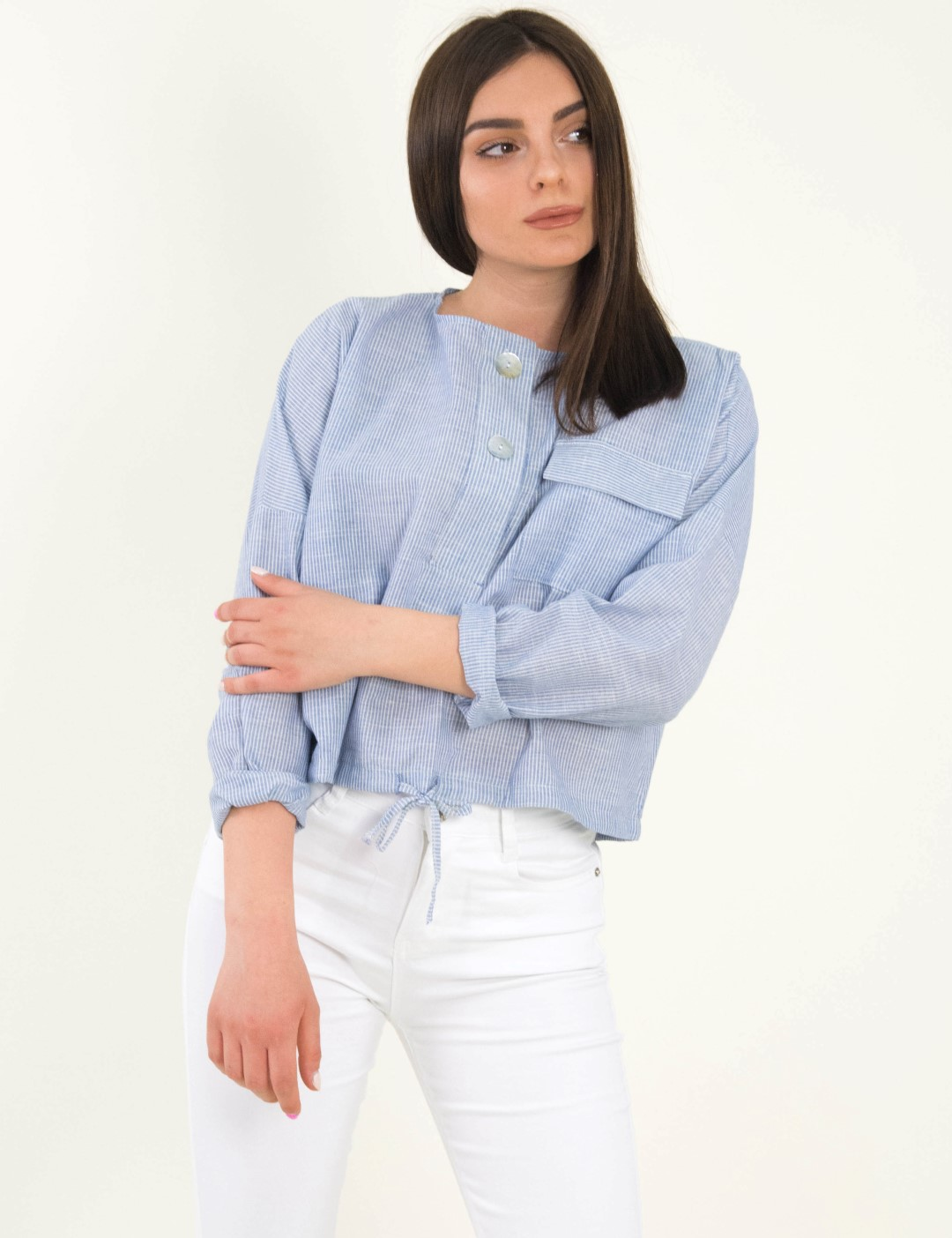 682f5a471d01 Γυναικείο σιέλ ριγέ Crop πουκάμισο με κορδόνι 19110