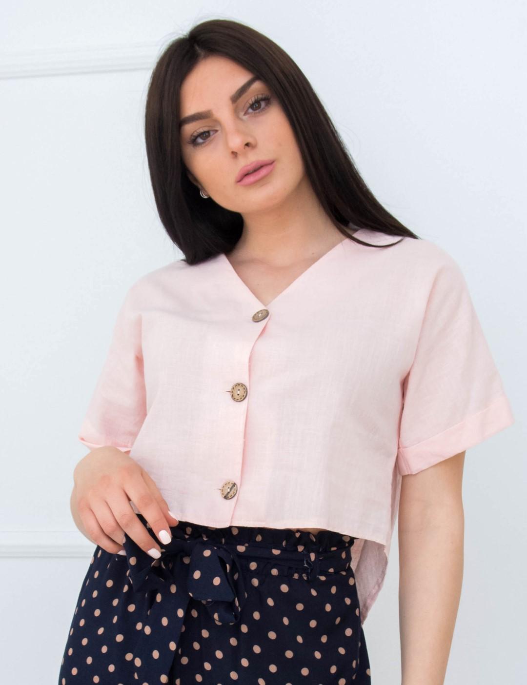 6c7faf13b06f Γυναικείο ροζ Crop πουκάμισο ασσύμετρο κουμπιά 18261