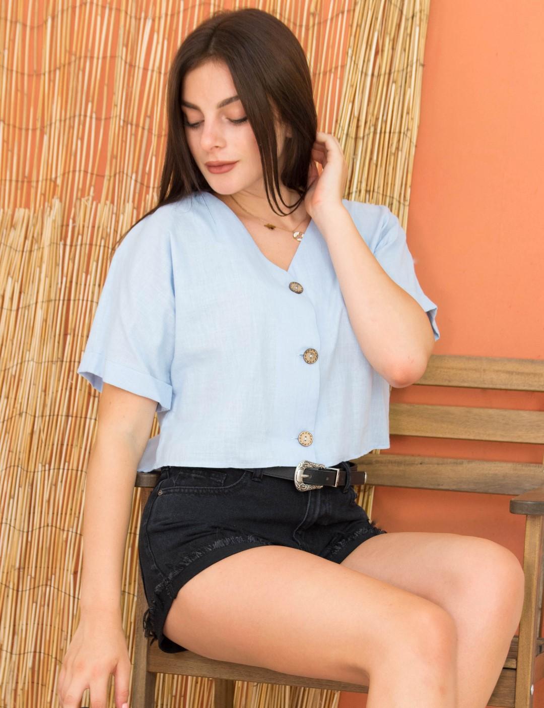 Γυναικείο σιέλ Crop πουκάμισο ασσύμετρο κουμπιά 18261W