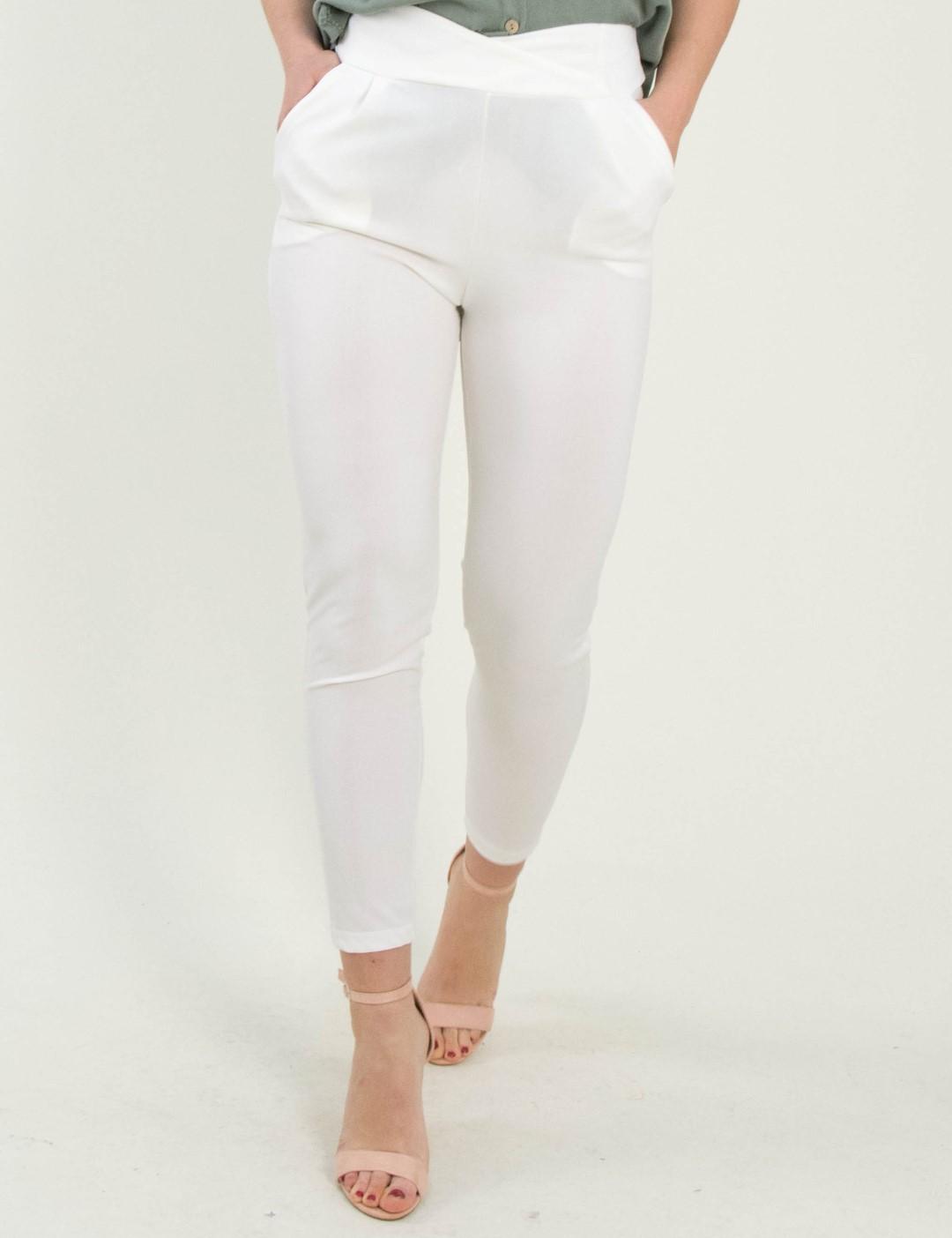 0ef25b539d3a Γυναικείο λευκό ψηλόμεσο παντελόνι με τσέπες So Sexy 41148A