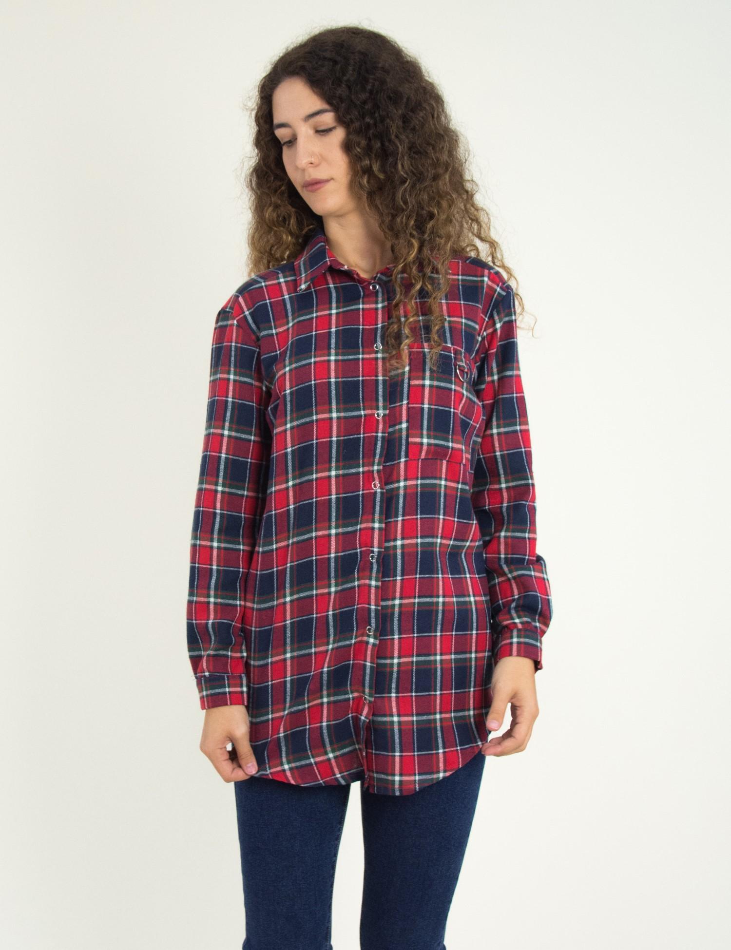 bf221d3d0cee Γυναικεία κόκκινη καρό πουκαμίσα Oversize Coocu 21002F