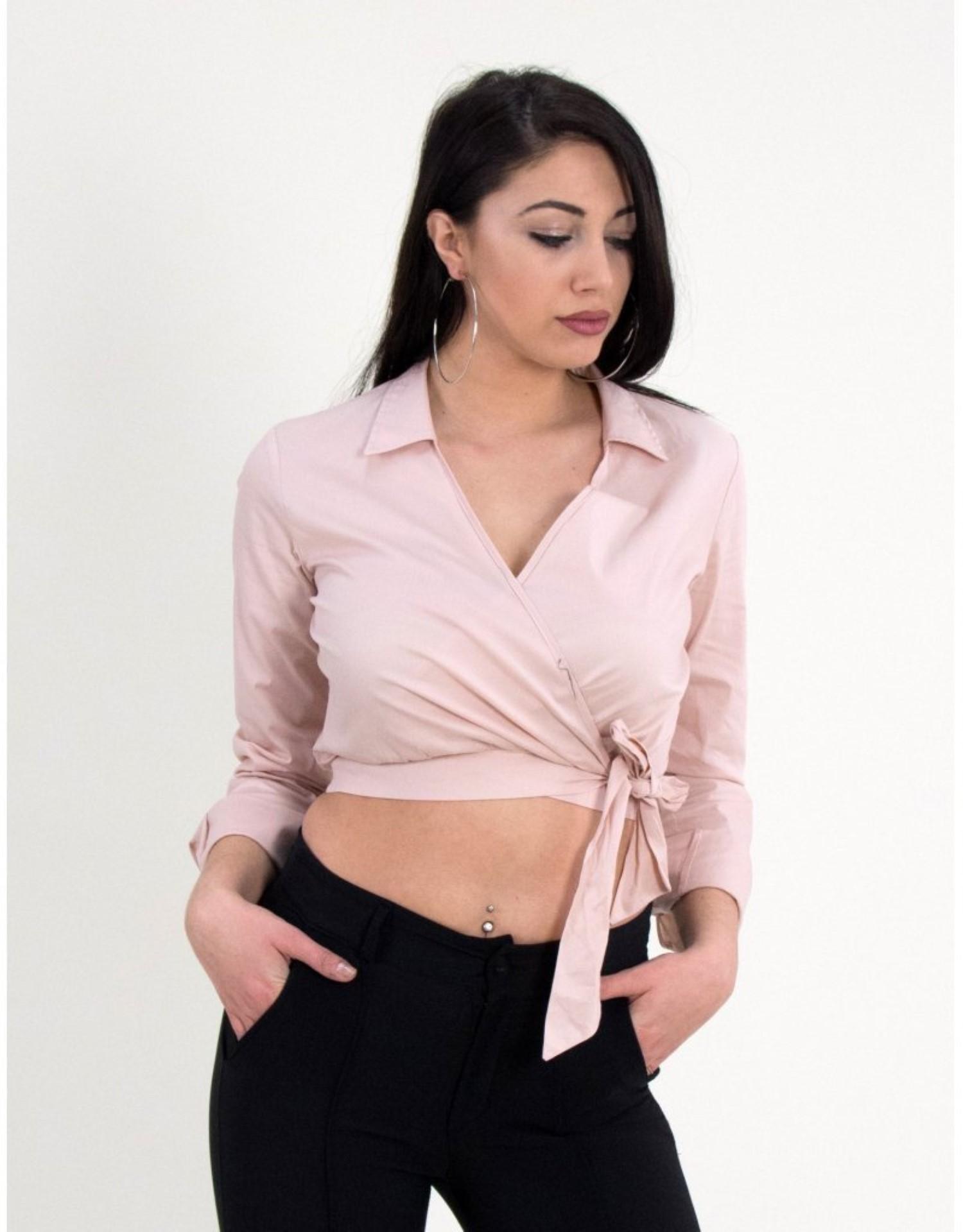 4577cbb960a1 Γυναικείο κρουαζέ τοπ πουκάμισο Cocktail ροζ 014006010C