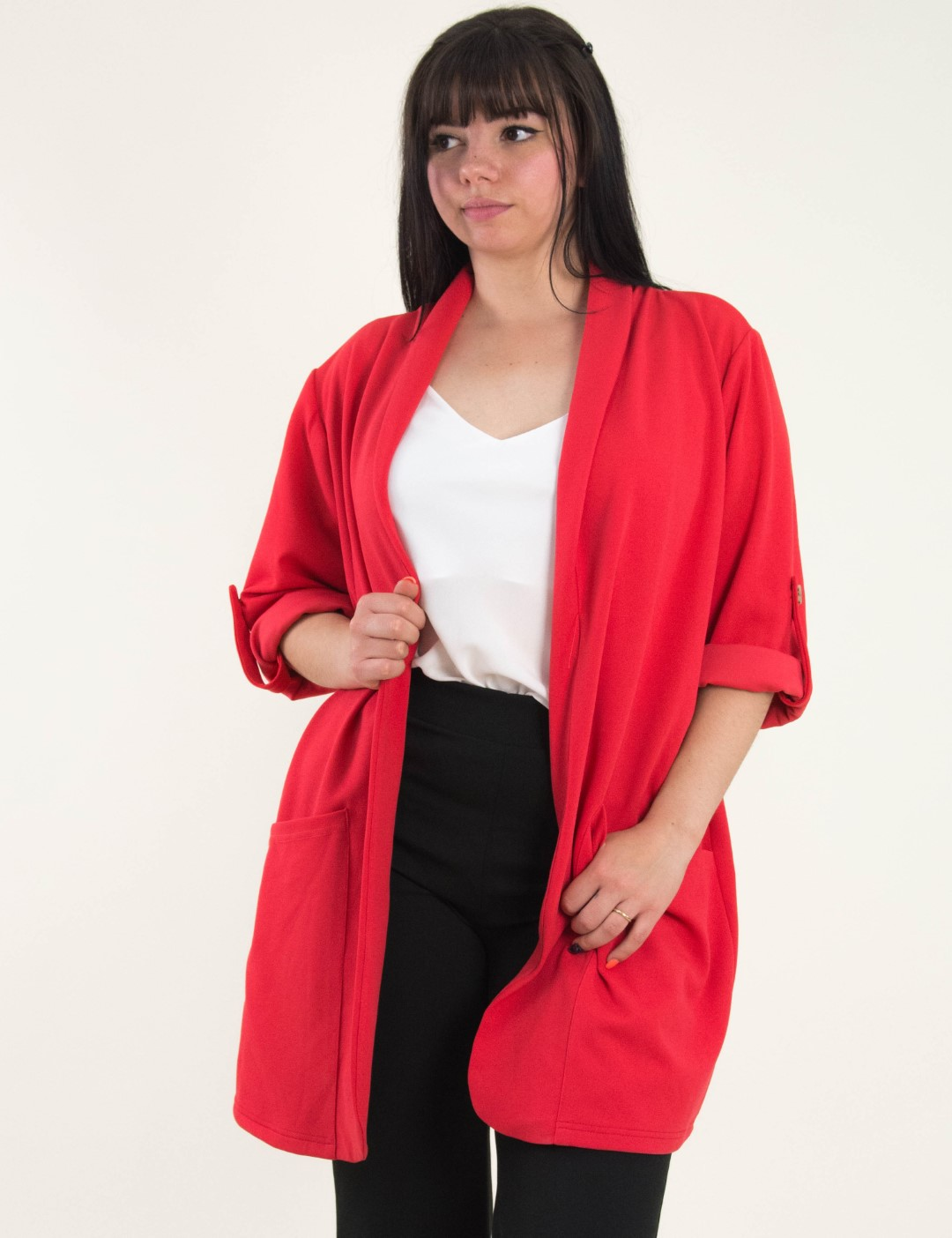 71579bc25ed9 Γυναικείο κόκκινο μονόχρωμο σακάκι Plus Size Honey 64923L
