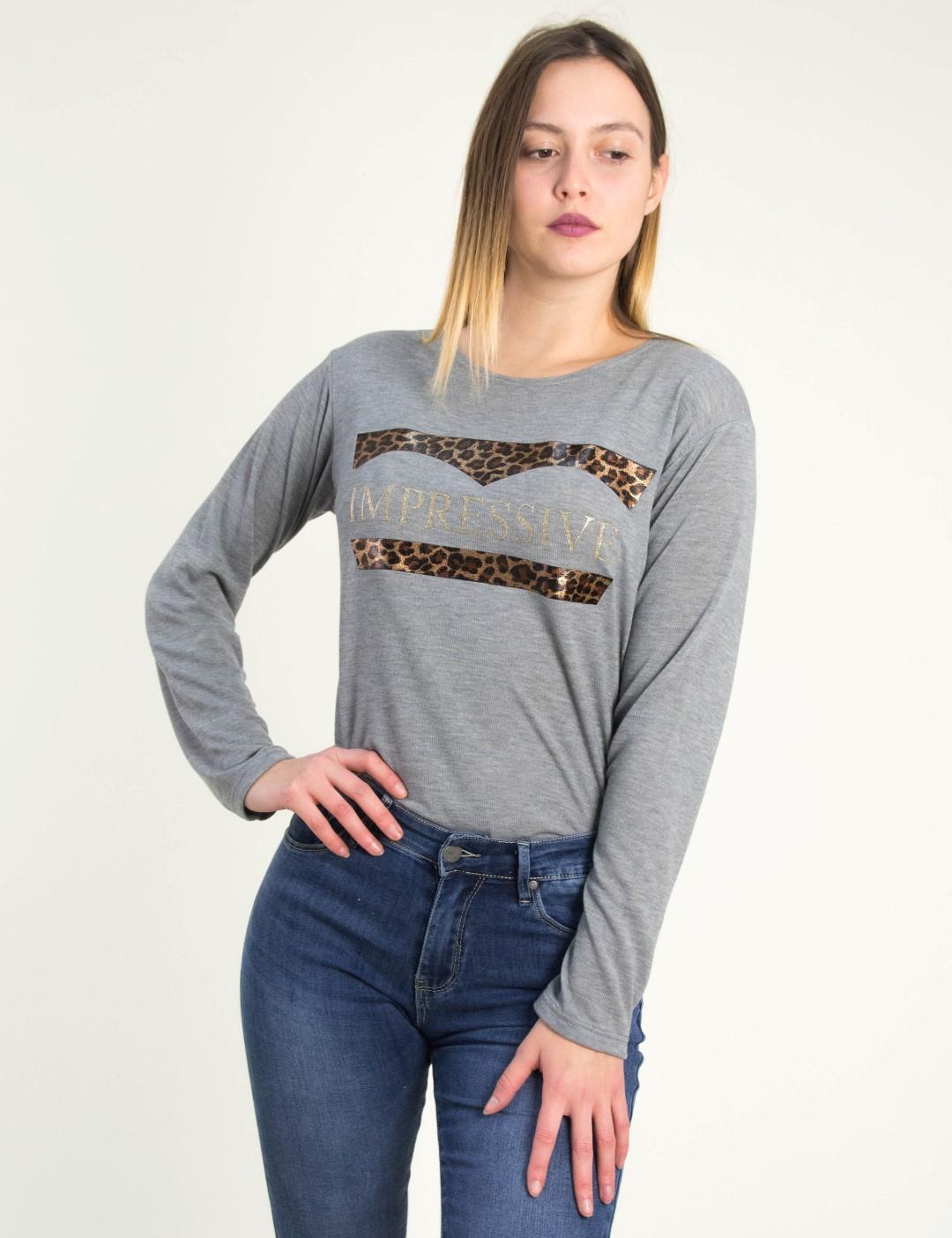 Γυναικεία γκρι ασσύμετρη μπλούζα λεοπάρ τύπωμα 1175932 d373e880af4