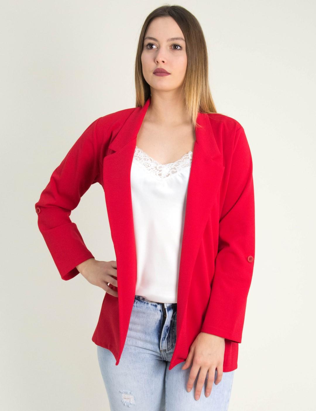 22788122de77 Γυναικείο κόκκινο υφασμάτινο σακάκι μονόχρωμο Lipsy 1190802L