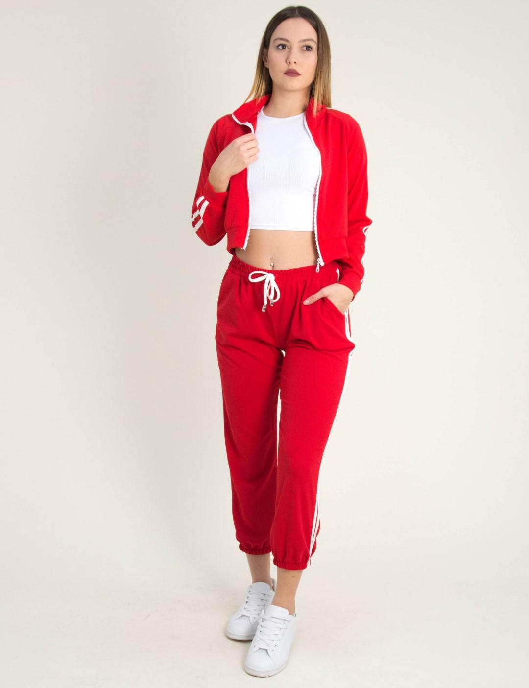 ea0d75abe9e Γυναικείο κόκκινο παντελόνι λευκές ρίγες λάστιχο 201766E