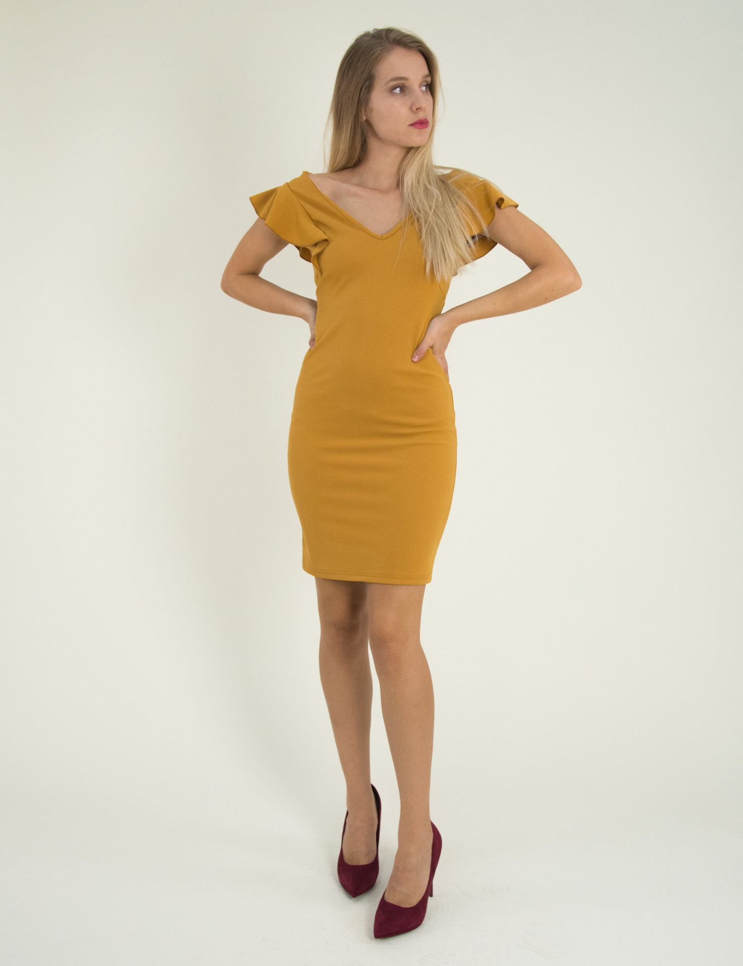 7dc0d9dbe11 Torouxo Γυναικείο ώχρα μονόχρωμο Scuba φόρεμα βολάν 8295129C
