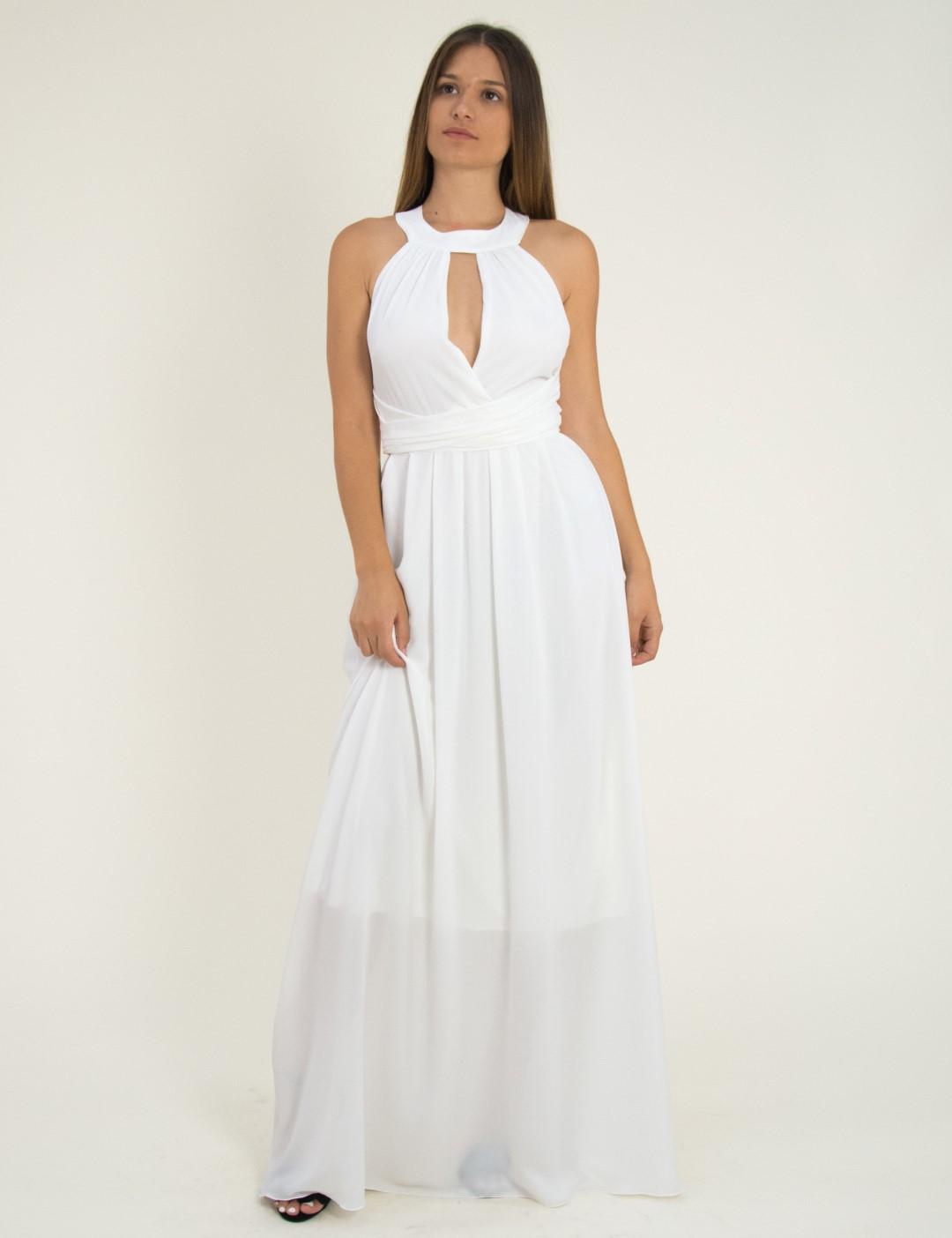 Γυναικείο μάξι φόρεμα εξώπλατο με κολάρο λευκό μονόχρωμο 8222220D 511baf6321a