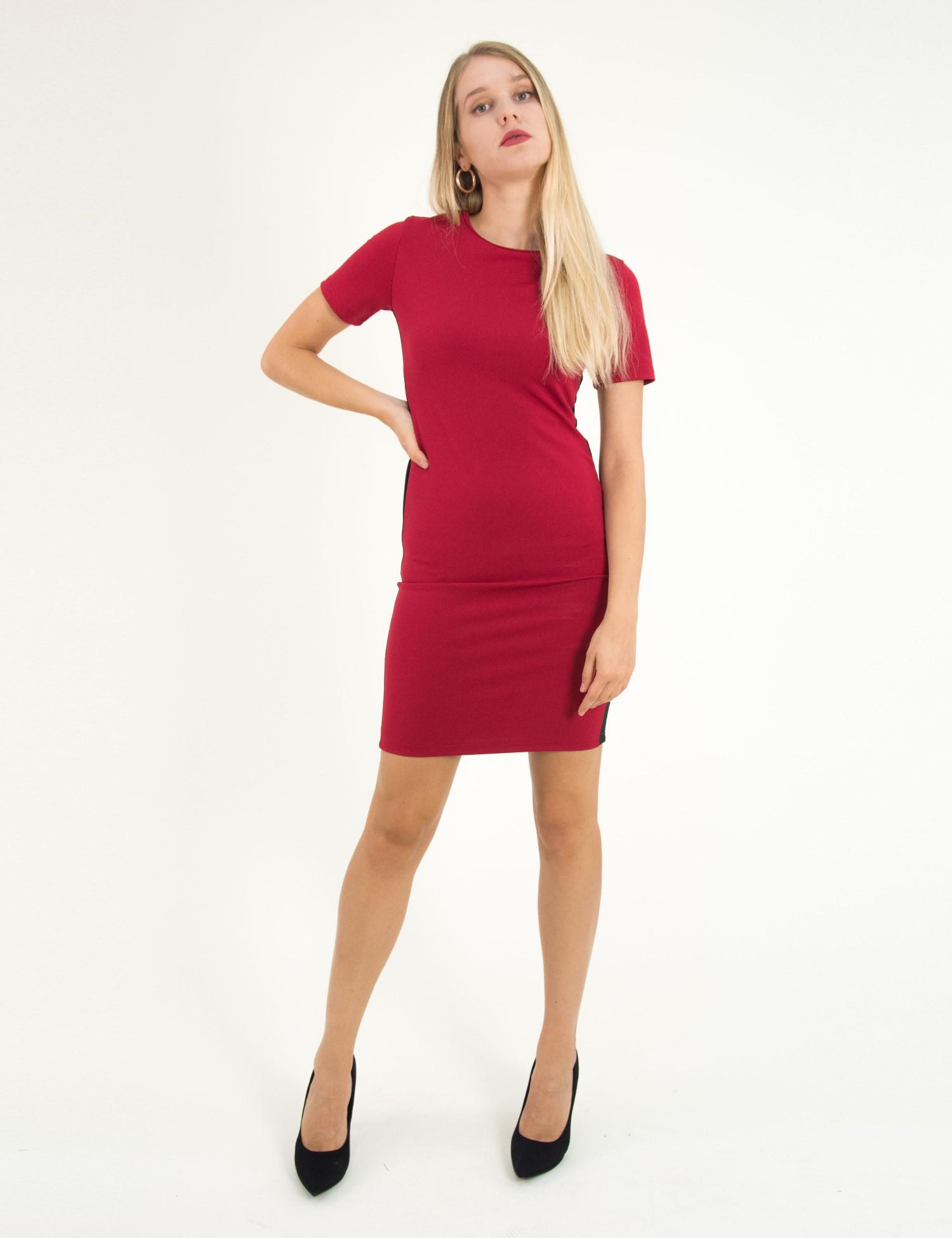 3ed39c1f9d7f Torouxo Γυναικείο κόκκινο midi φόρεμα κοντομάνικο με ρίγες W192004K