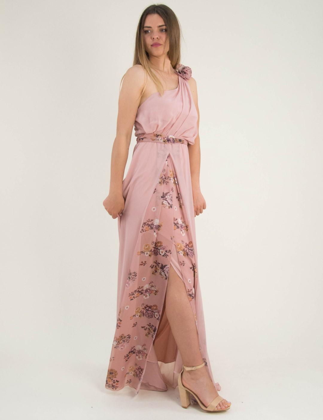 694f0fcfdba1 Γυναικείο νουντ maxi φόρεμα φλοράλ ένας ώμος No Stress 8587317L