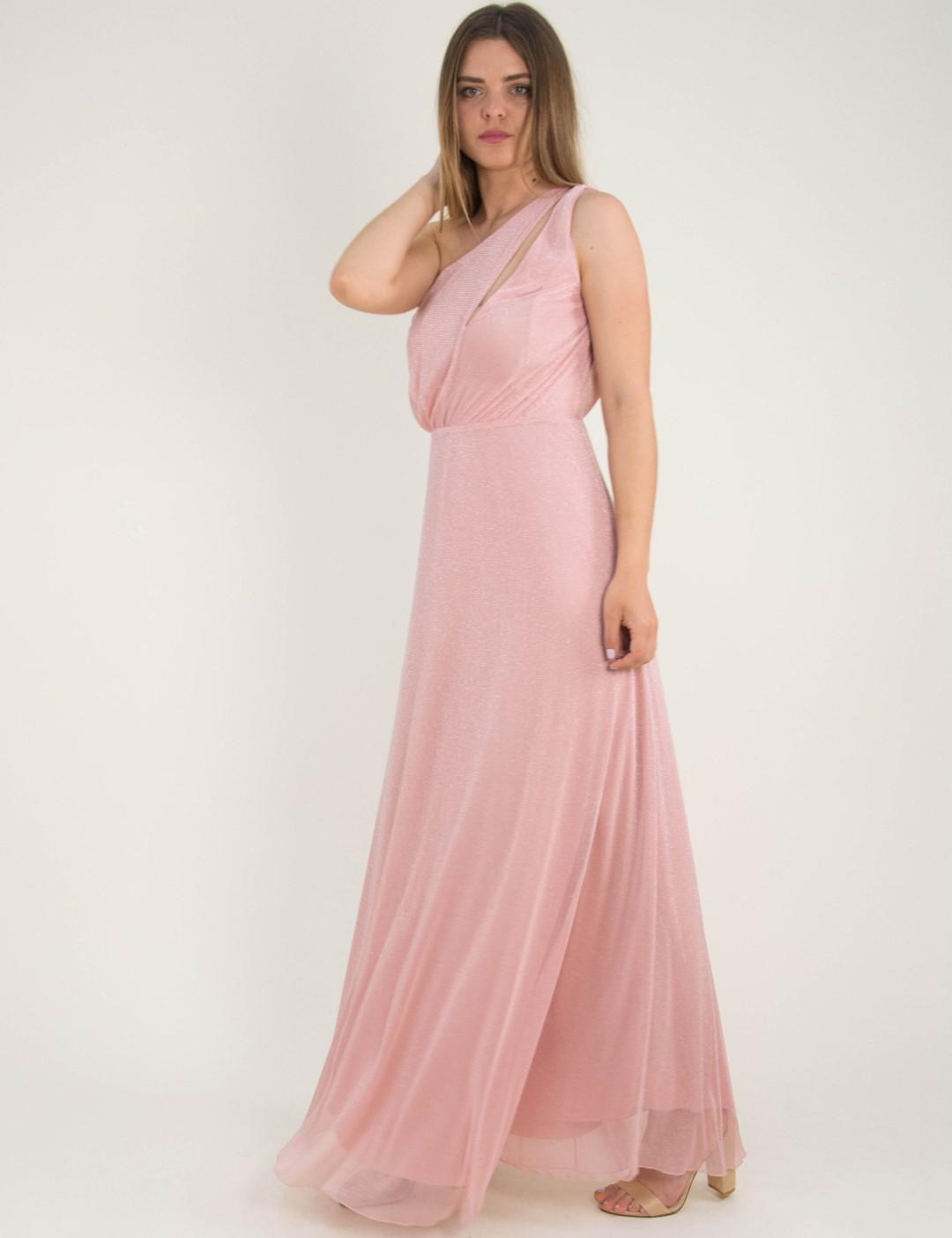 830f91c2cdcd Γυναικείο ροζ maxi φόρεμα Lurex τούλι No Stress 8575288L