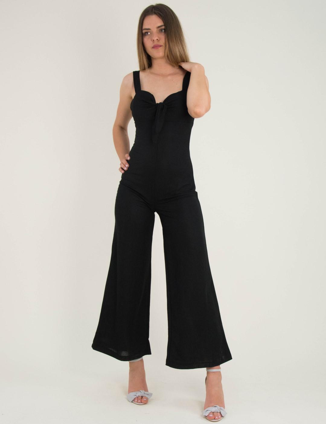 7a510b84cd6 Γυναικεία μαύρη ολόσωμη φόρμα με κόμπο στο στήθος 3998