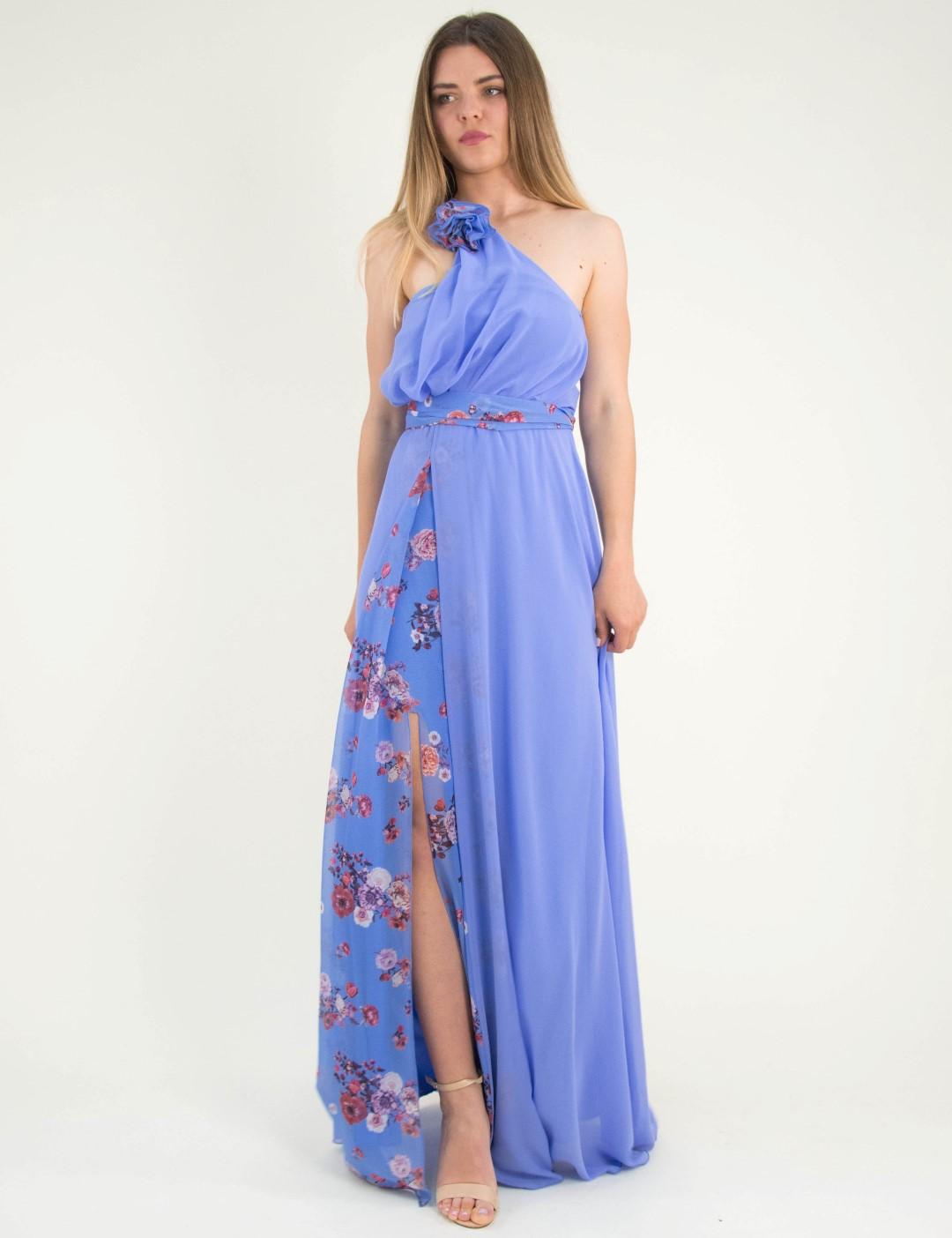 277292230f2c Γυναικείο γαλάζιο maxi φόρεμα φλοράλ ένας ώμος No Stress 8587317W