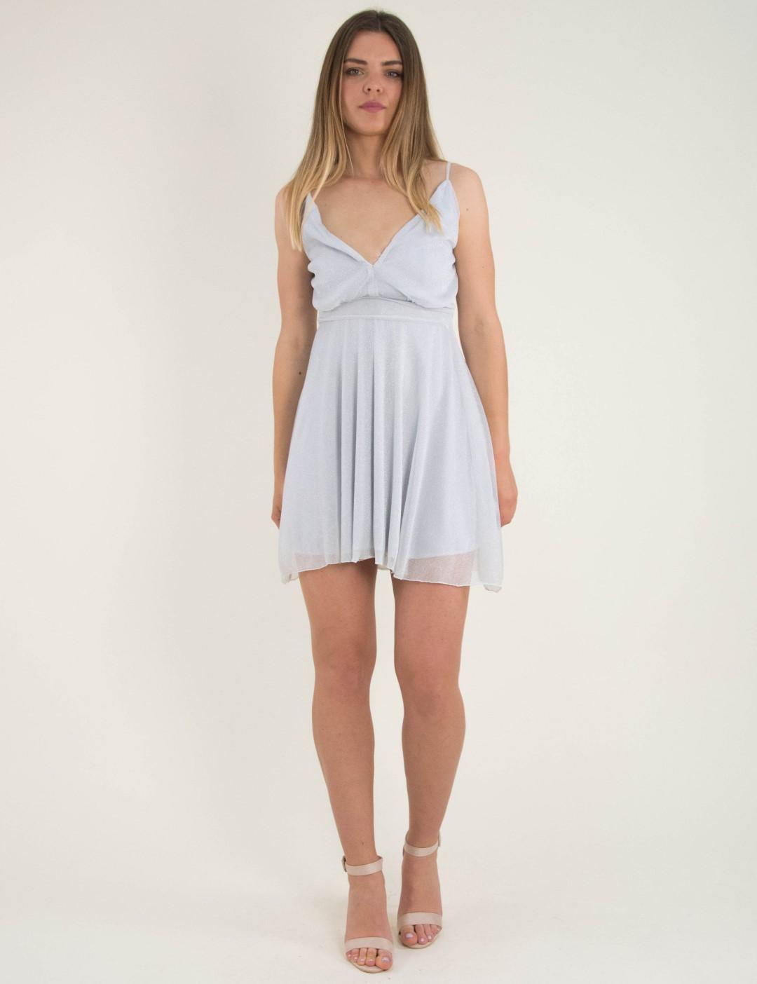 bf972a7eaddc Γυναικείο γκρι κλος φόρεμα Lurex τούλι No Stress 8580228D